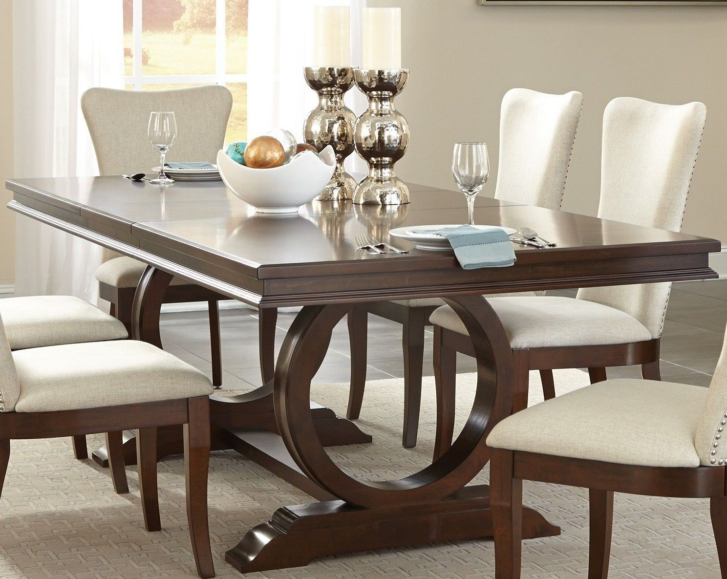 oratorio cherry extendable trestle dining table from homelegance coleman furniture. Black Bedroom Furniture Sets. Home Design Ideas