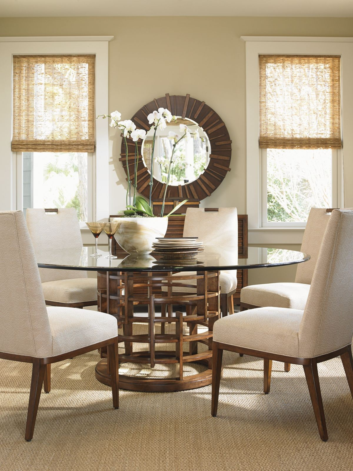 "Island Fusion 60"" Meridian Round Glass Dining Table From"
