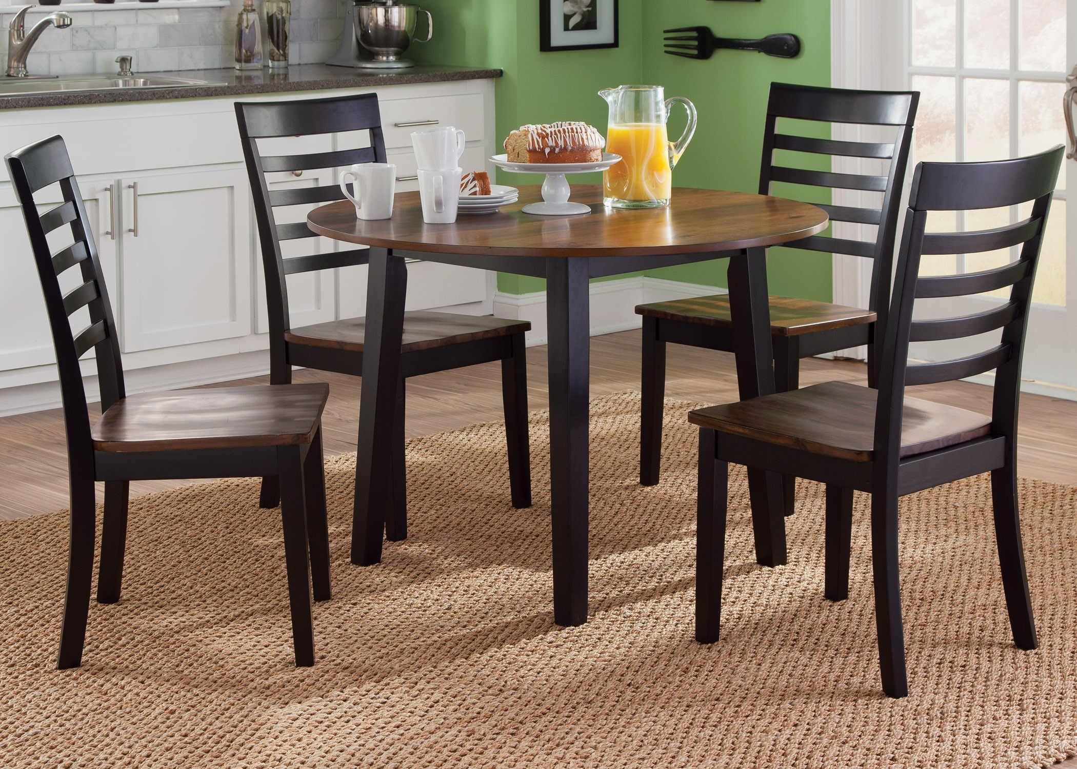 Cafe black and cherry round fix top dining room set from for Round dining room sets