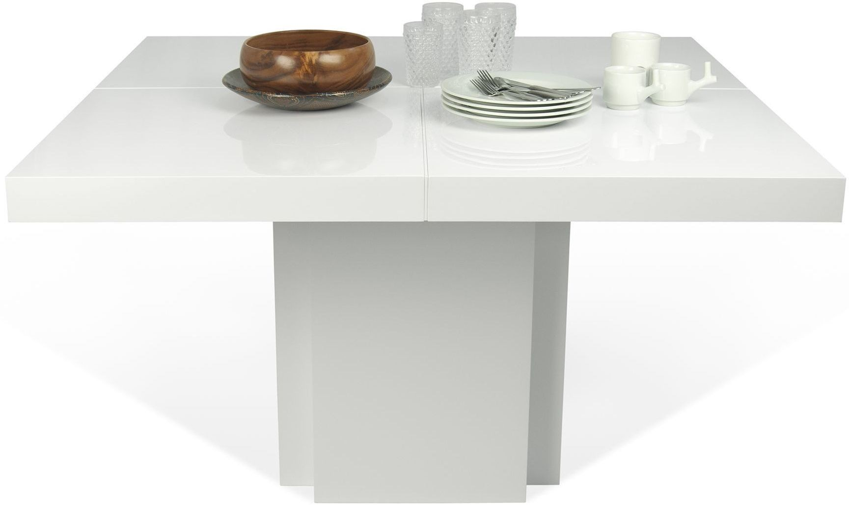Dusk 51 high gloss white dining table tema home for White high gloss dining table