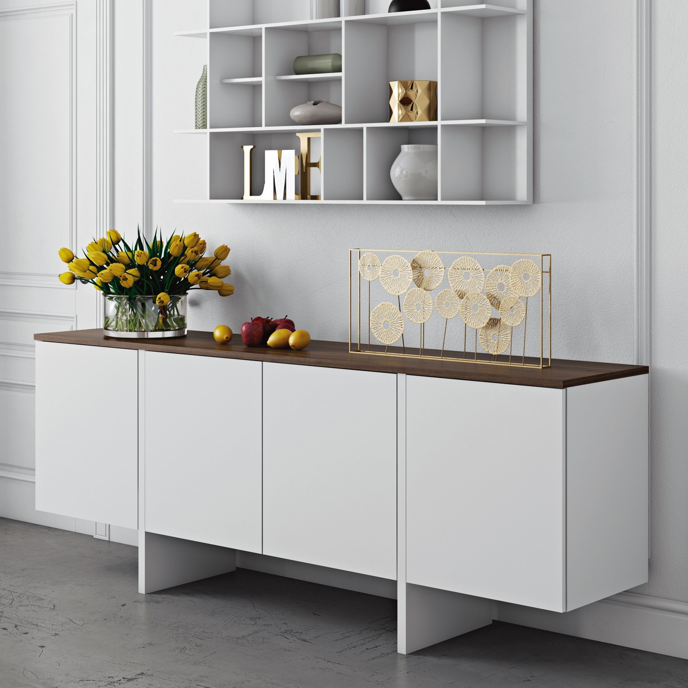 edge pure white and walnut sideboard from tema home coleman furniture