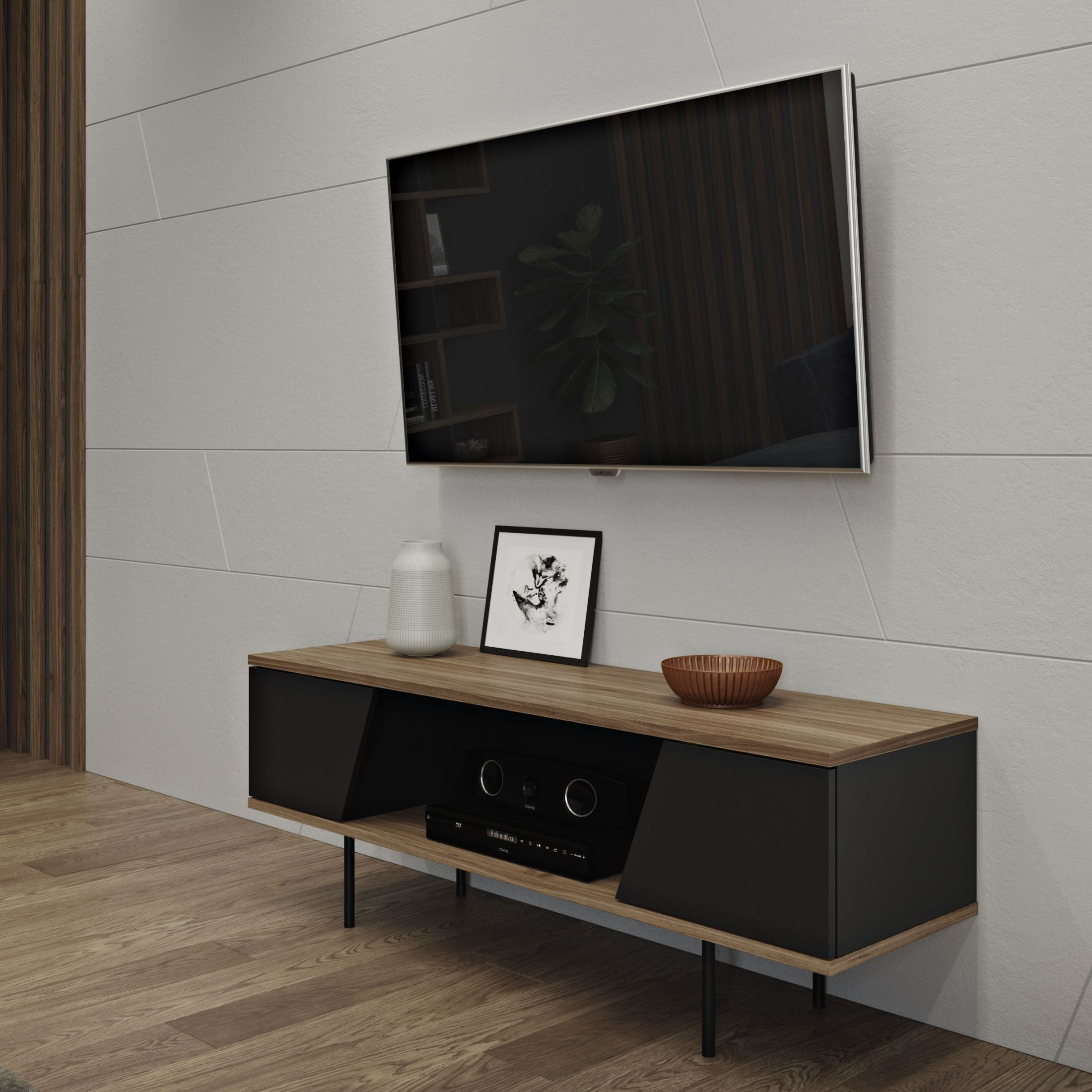 dixie walnut and pure black tv table from tema home coleman furniture