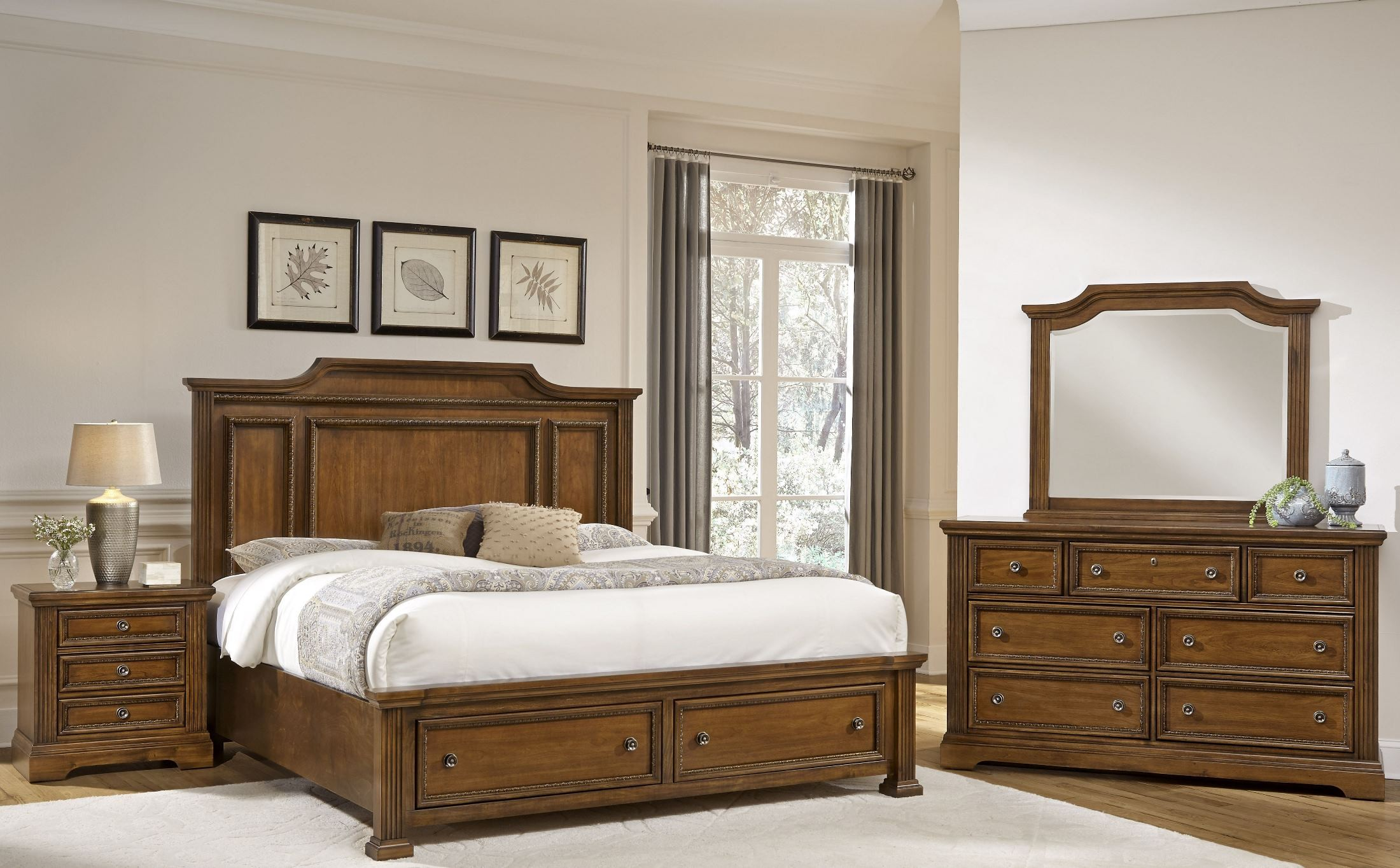 Affinity Antique Cherry Mansion Storage Bedroom Set From Virginia House Coleman Furniture