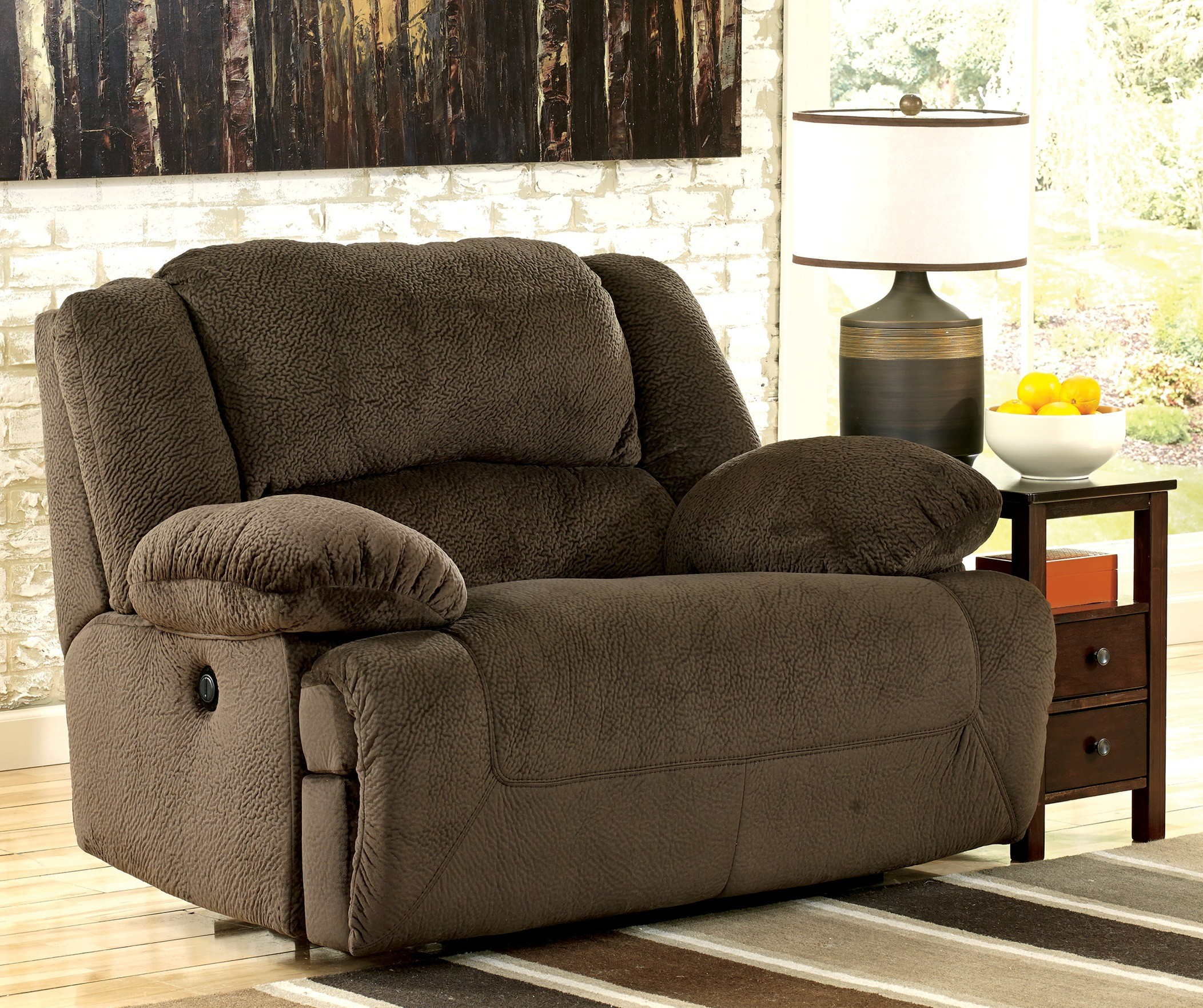 Toletta chocolate zero wall wide seat recliner from ashley for Chair recliner