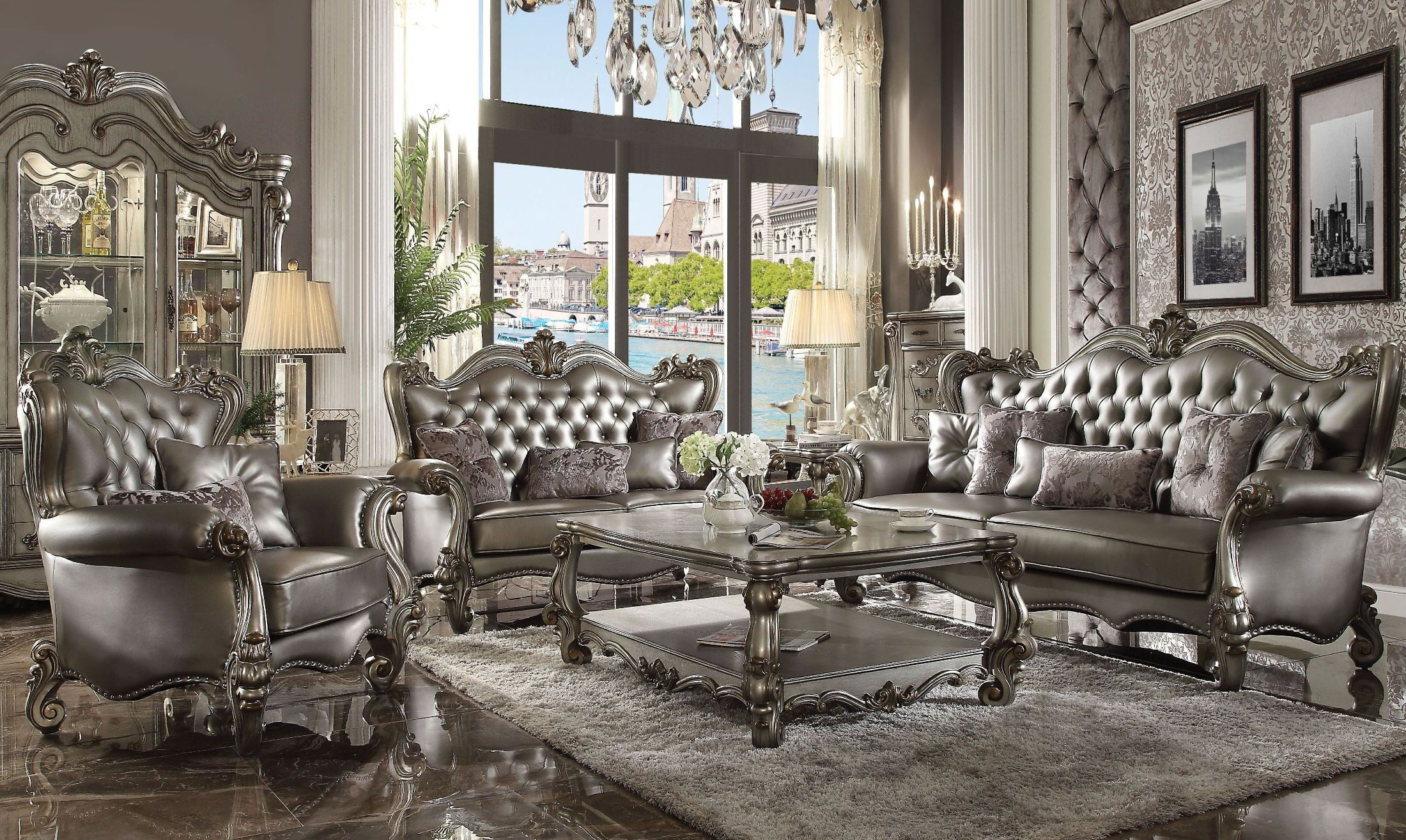 Versailles silver antique platinum living room set from - Antique living room furniture sets ...