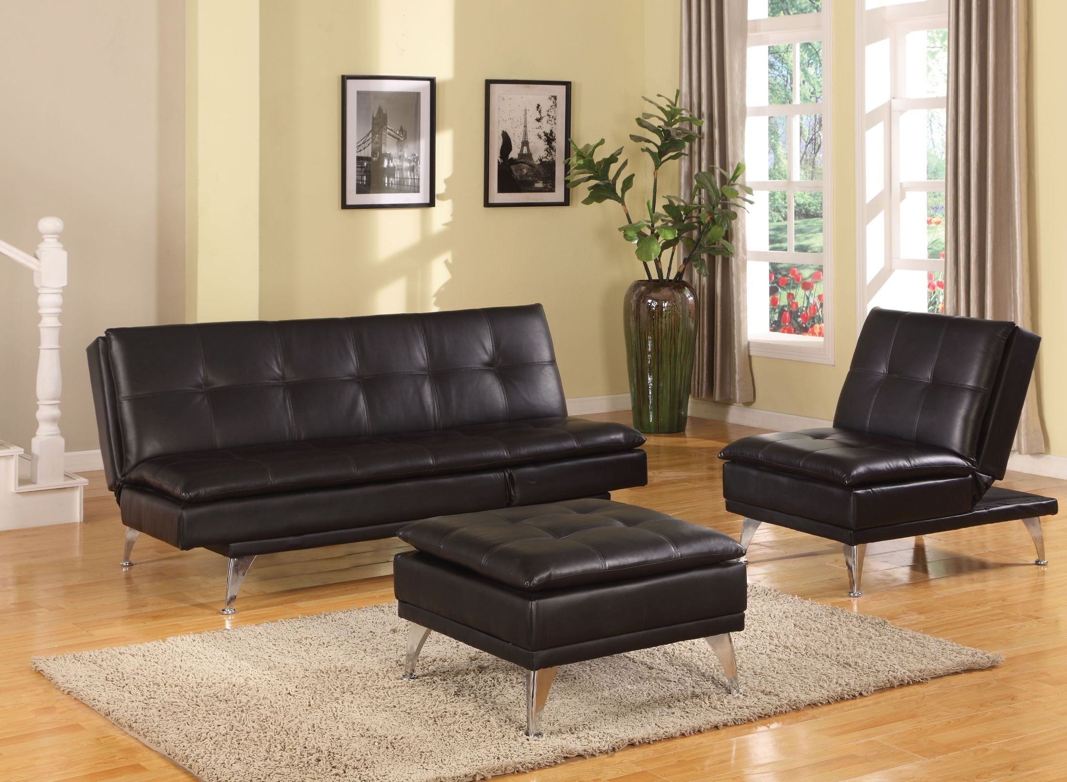 Frasier Black Adjustable Futon Living Room Set from Acme | Coleman ...