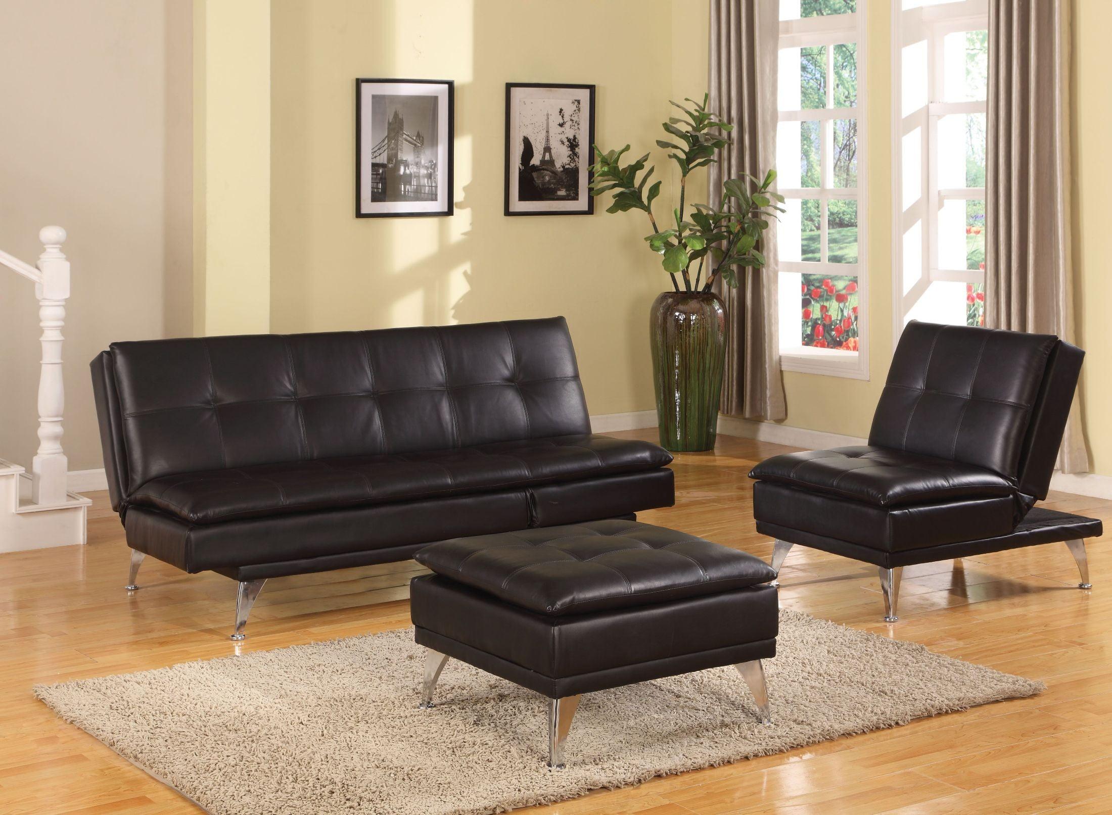 Frasier Black Adjustable Futon Living Room Set
