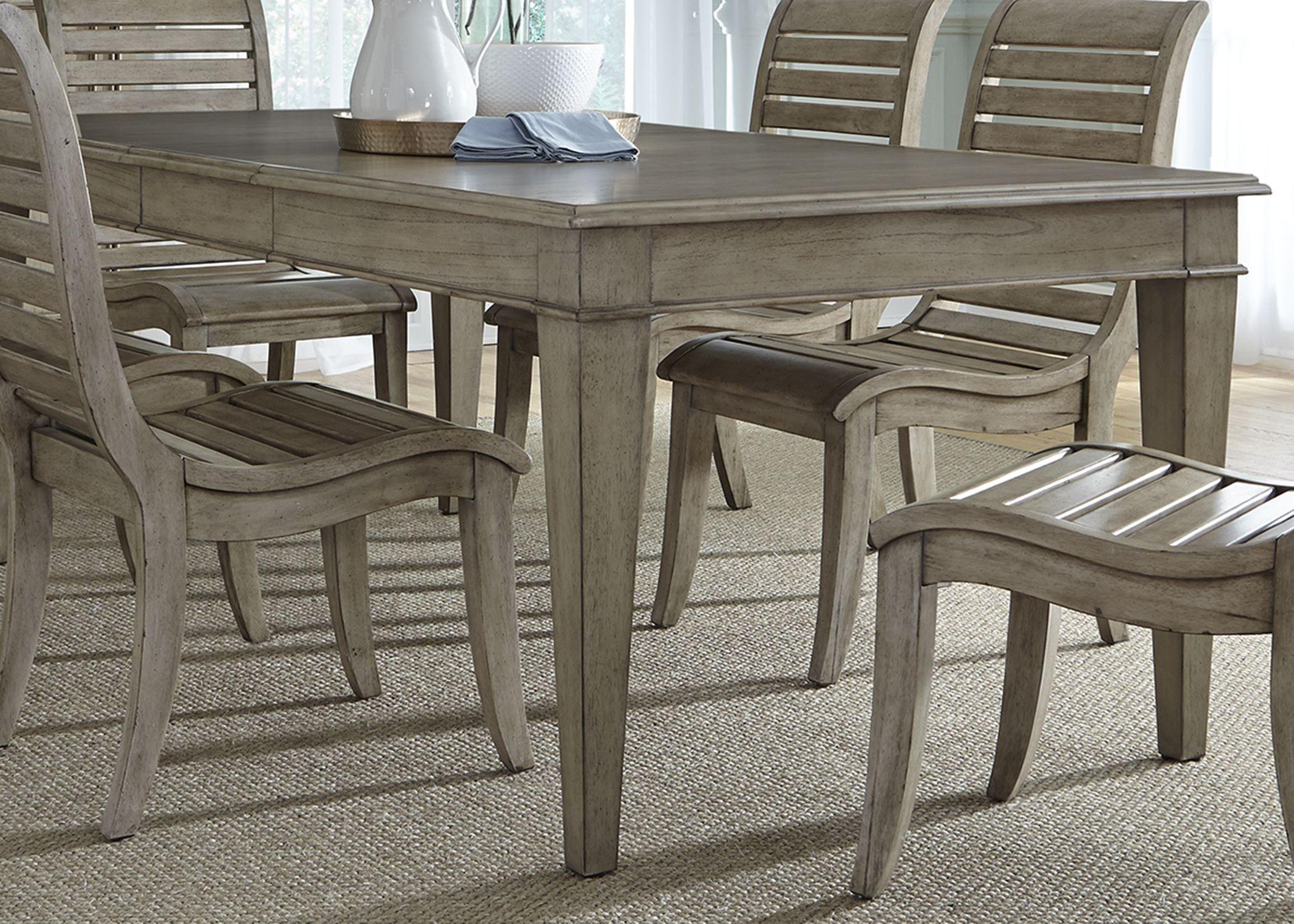 Grayton Grove Driftwood Extendable Rectangular Leg Dining Table 573 T4284 L