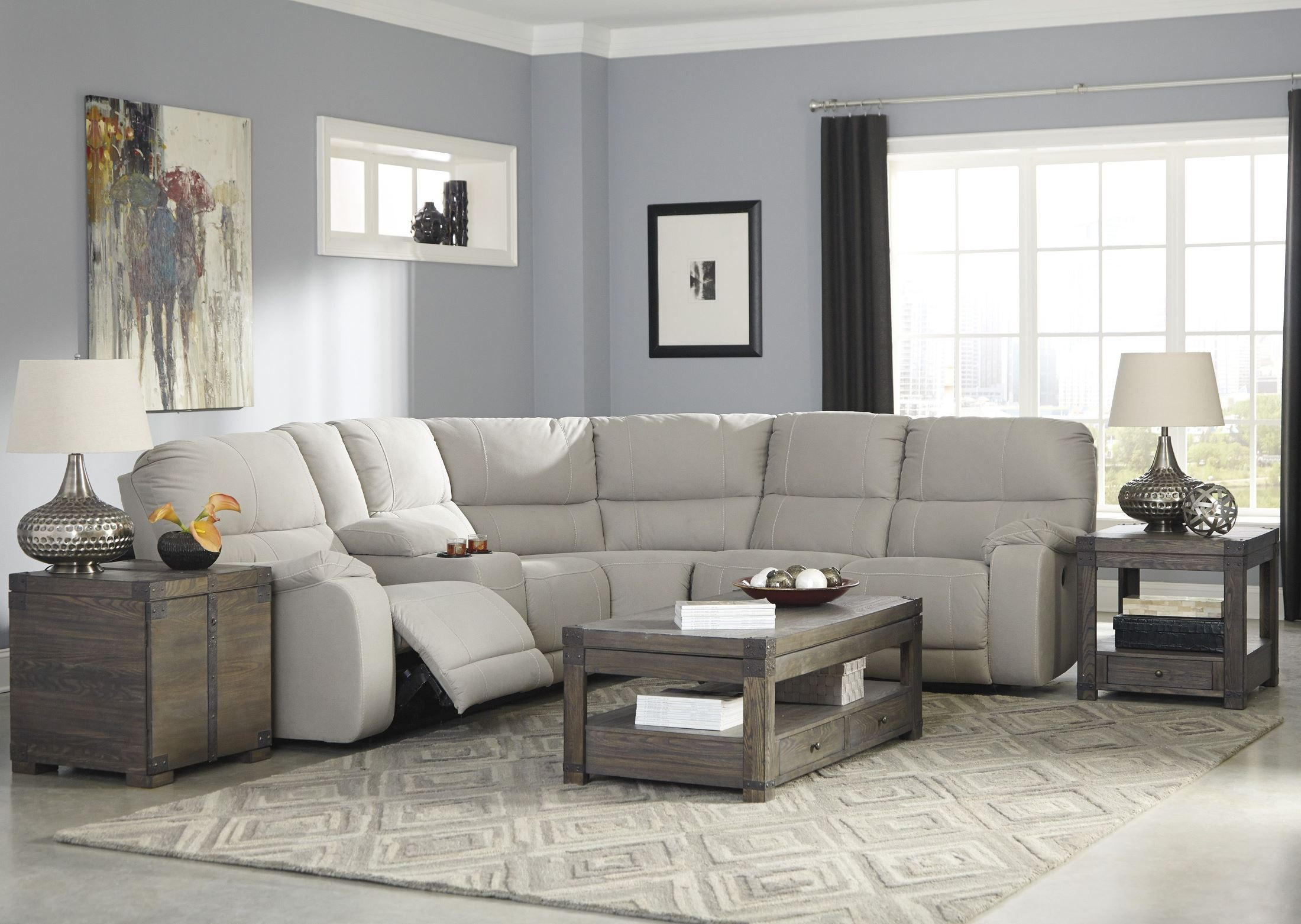 Bohannon Putty Power Reclining Sectional From Ashley