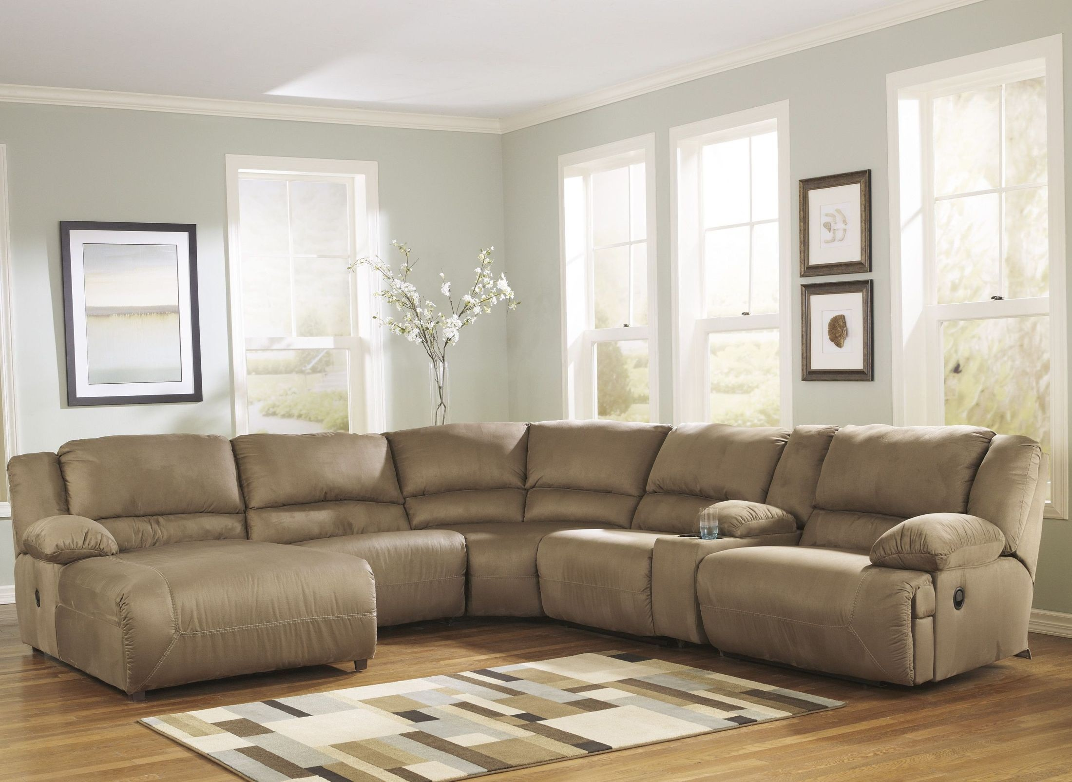 Hogan mocha left chaise reclining sectional from ashley for Ashley reclining chaise