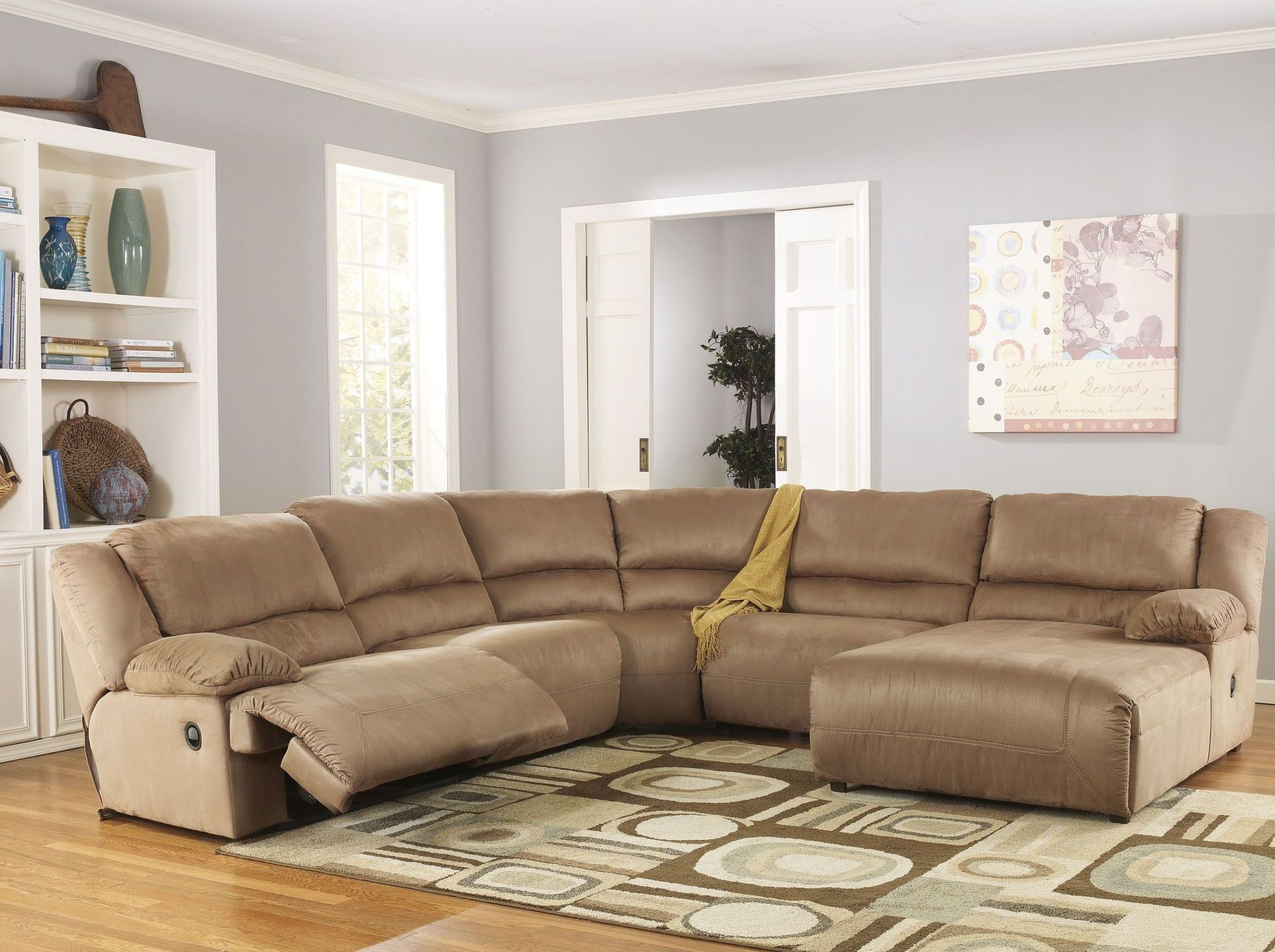 Hogan mocha right chaise reclining sectional from ashley for Ashley furniture hogan chaise