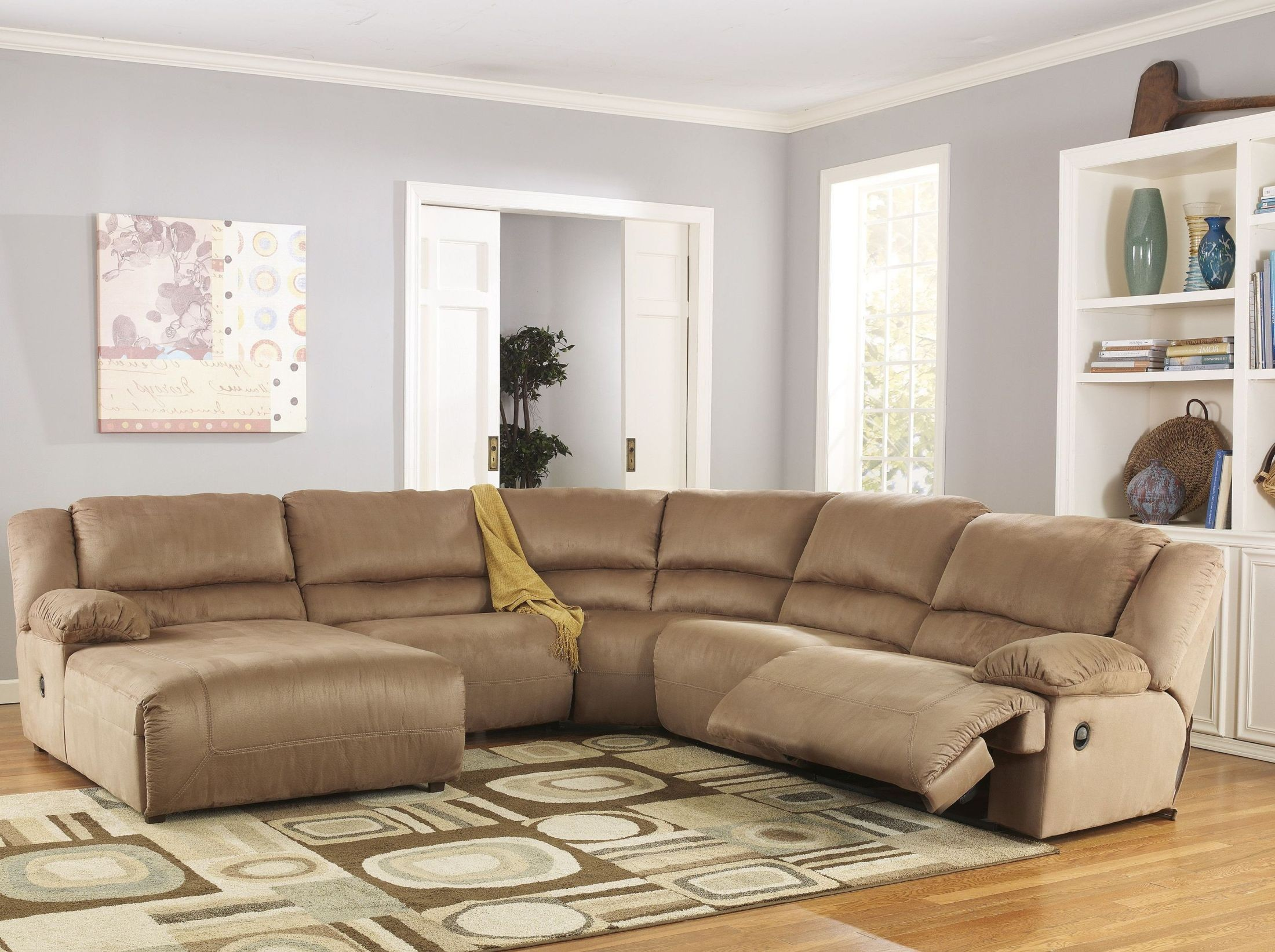 Hogan mocha left chaise reclining sectional from ashley for Ashley hogan chaise