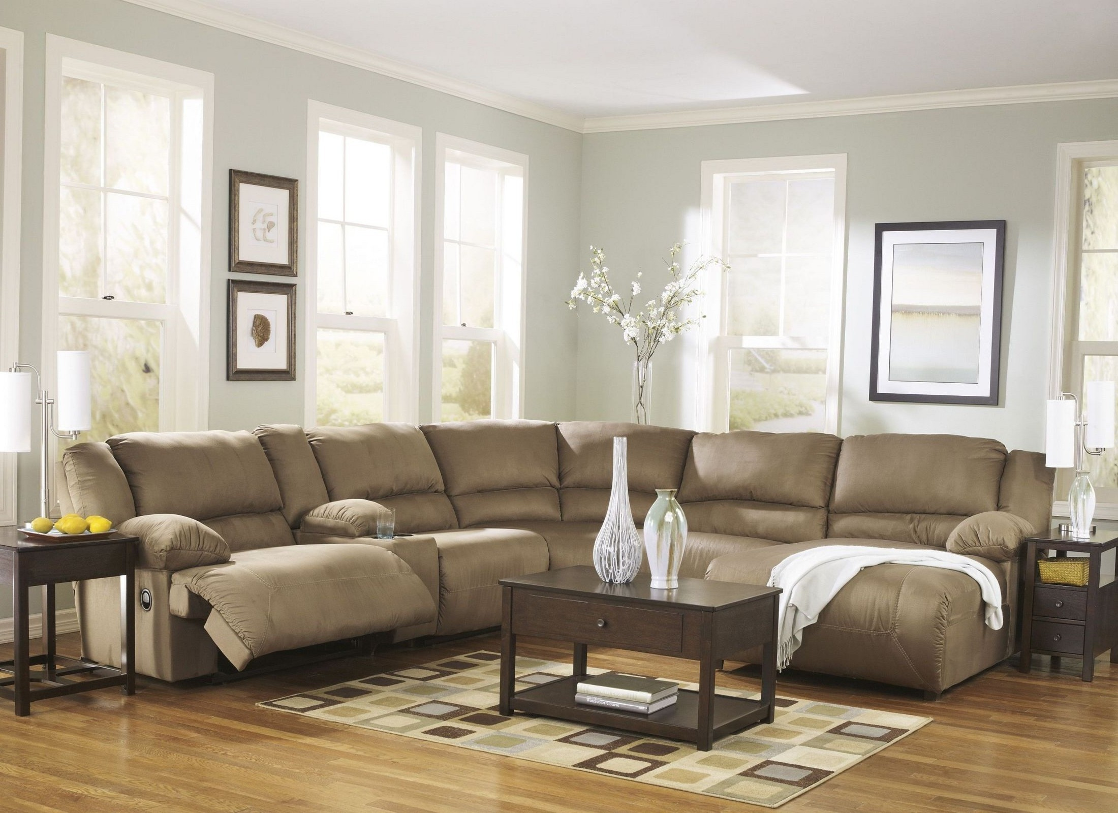 Hogan mocha right chaise reclining sectional from ashley for Ashley mocha sectional with chaise