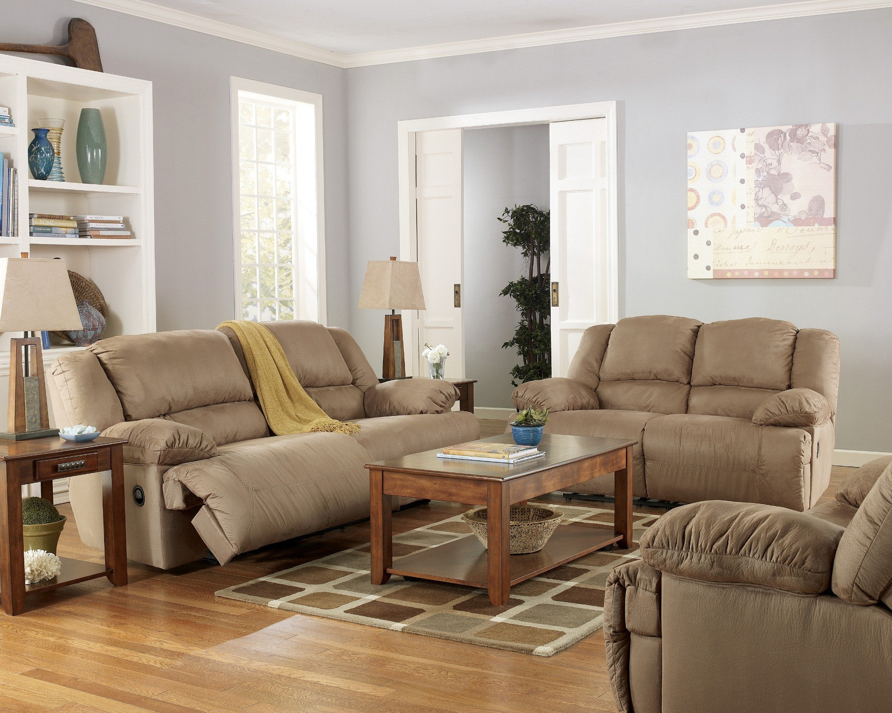 Hogan mocha reclining living room set from ashley 57802 - Small living room furniture for sale ...