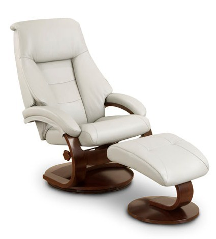 Oslo Putty Top Grain Leather Swivel Recliner With Ottoman