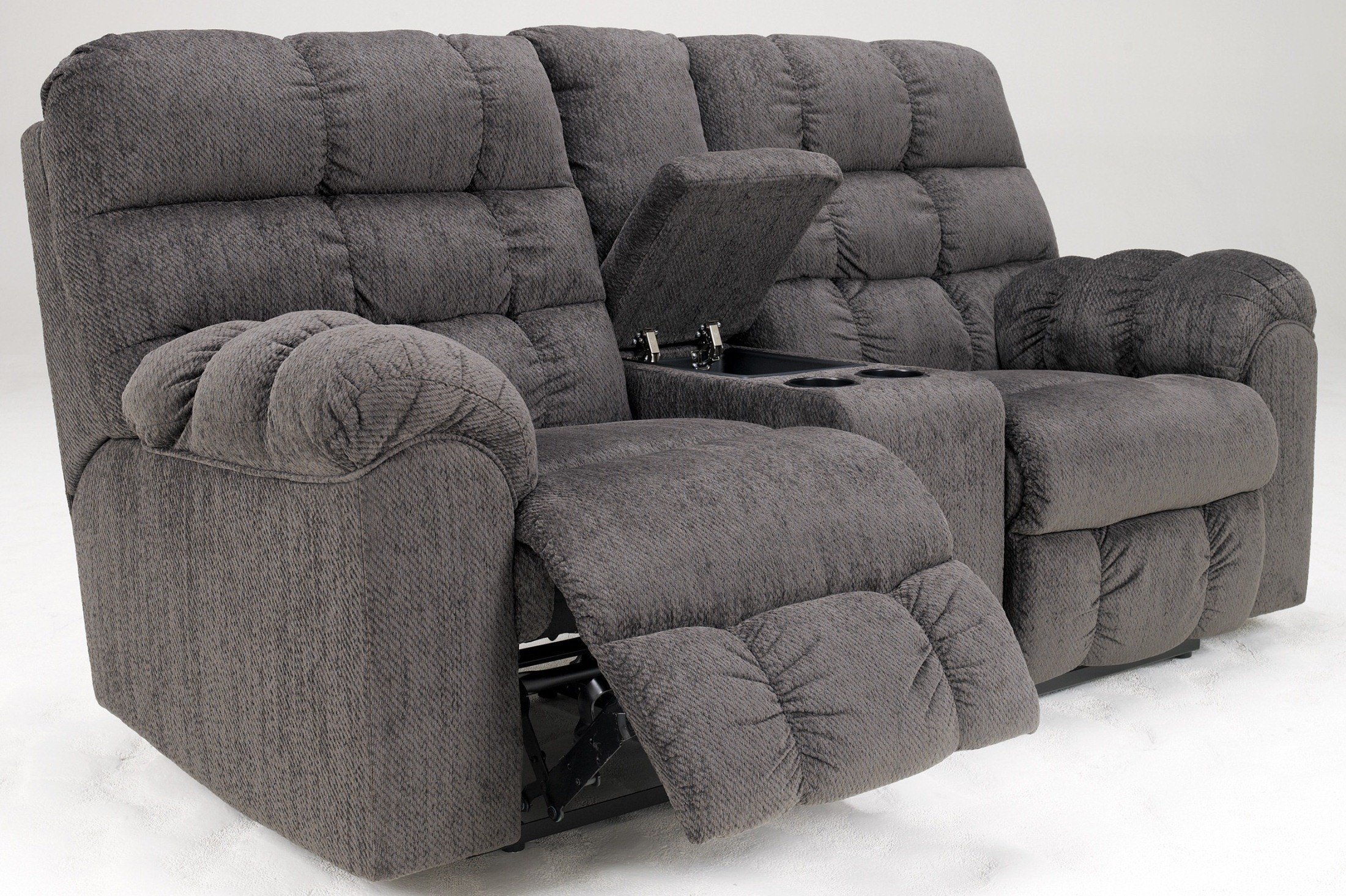 Acieona Slate Double Reclining Loveseat With Console From Ashley  ~ Sofa Recliner With Console