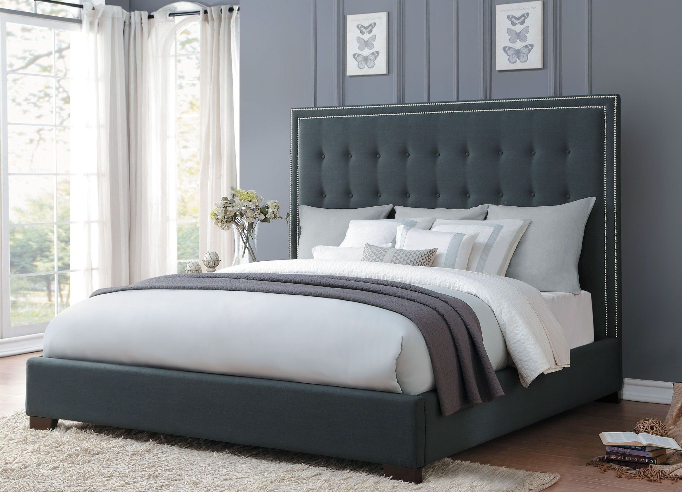 Cal King Grey Upholstered Bed