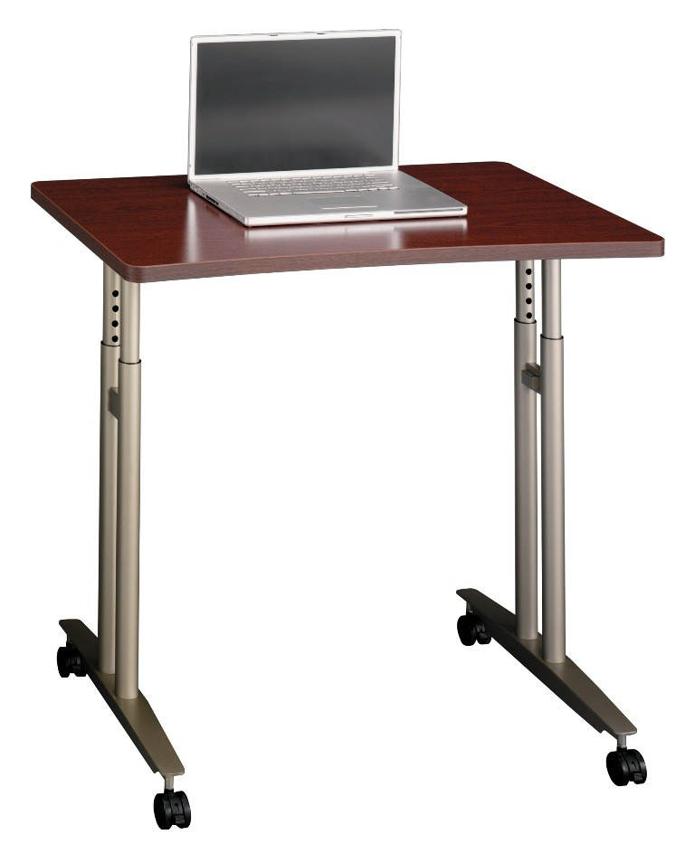 Adjustable Side Table For Recliner: Series C Mahogany Adjustable Height Mobile Table From Bush