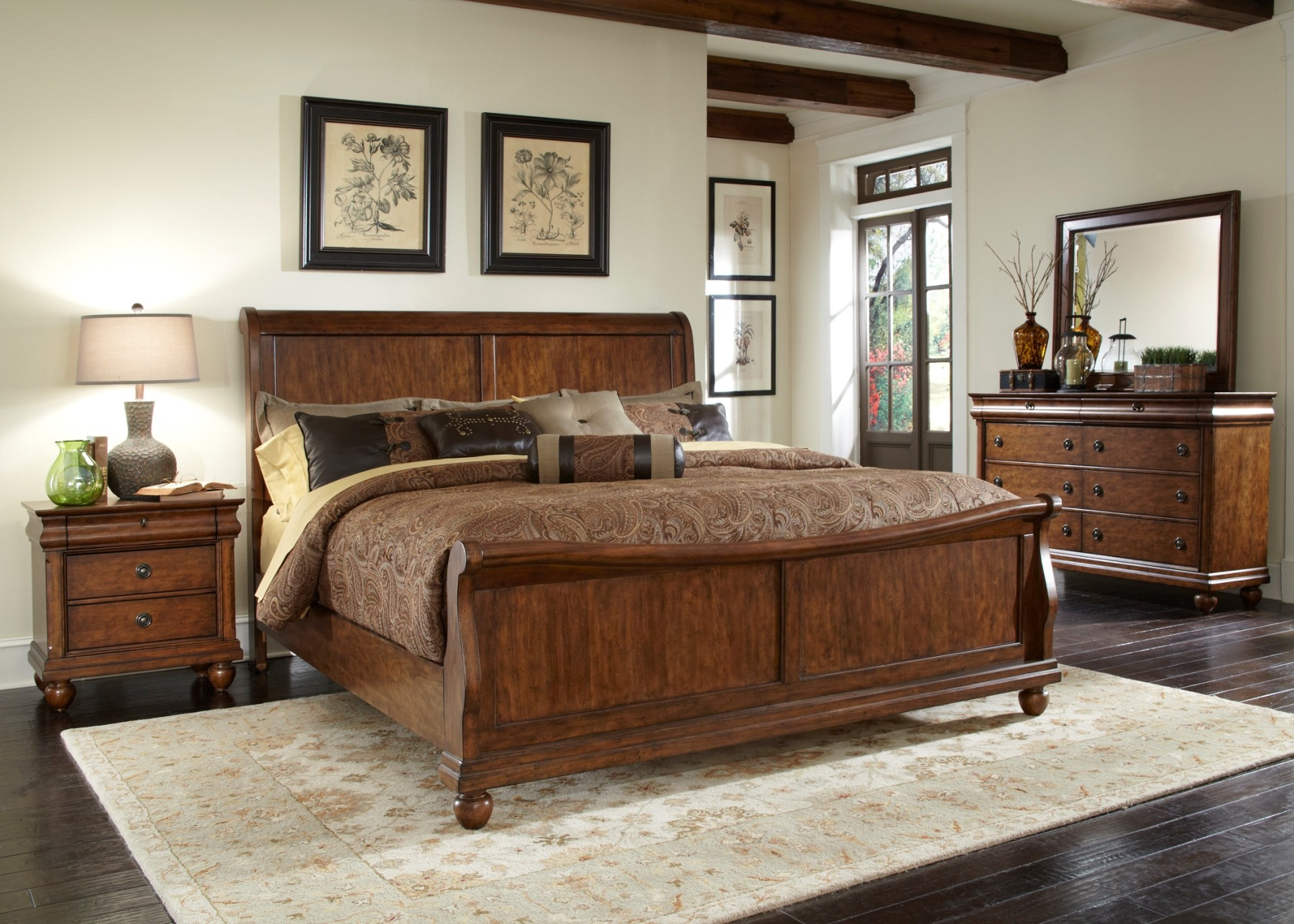 Rustic traditions sleigh bedroom set from liberty br