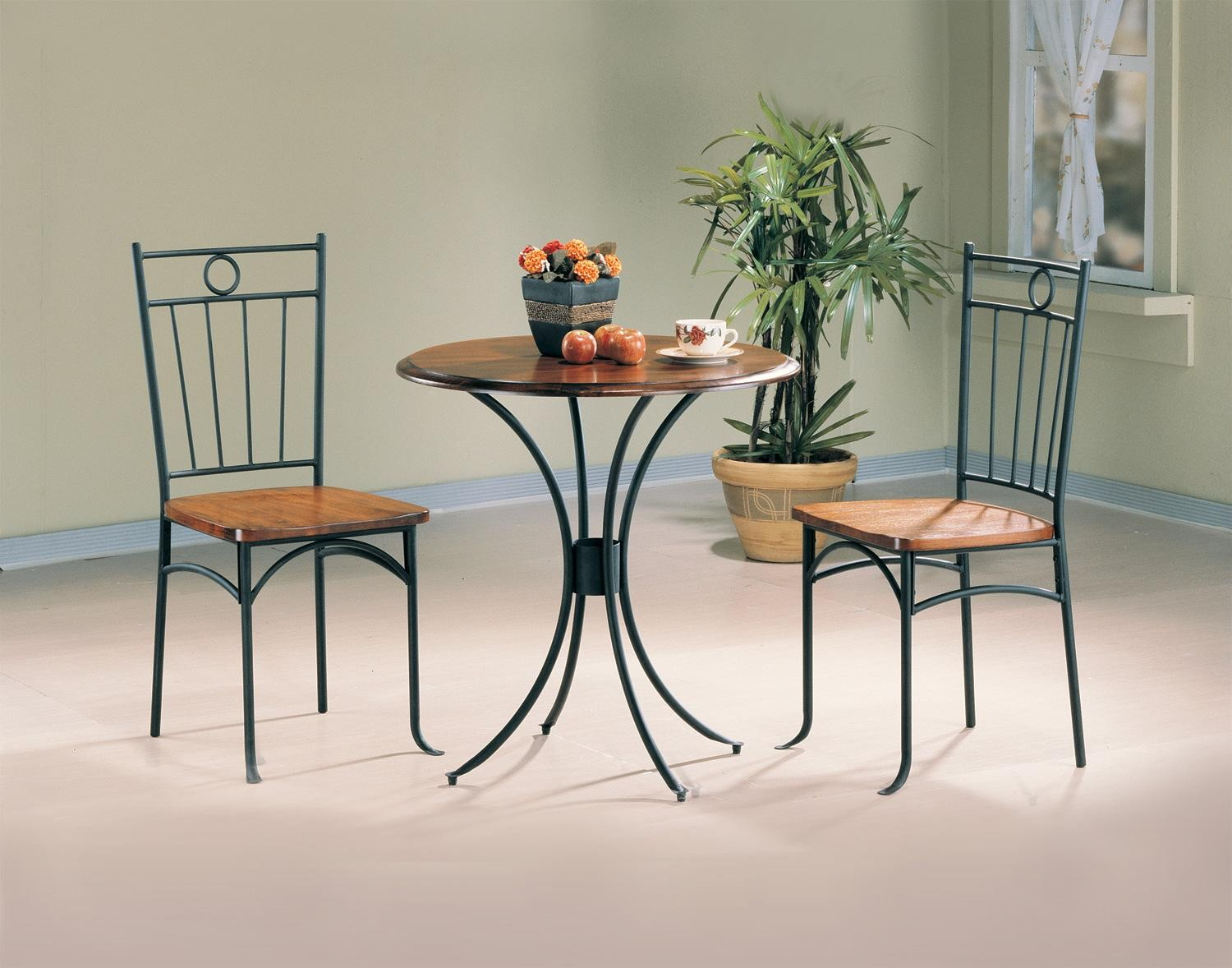 Black Bistro 3 Pcs Round Dining Table Set 5939 From Coaster 5939