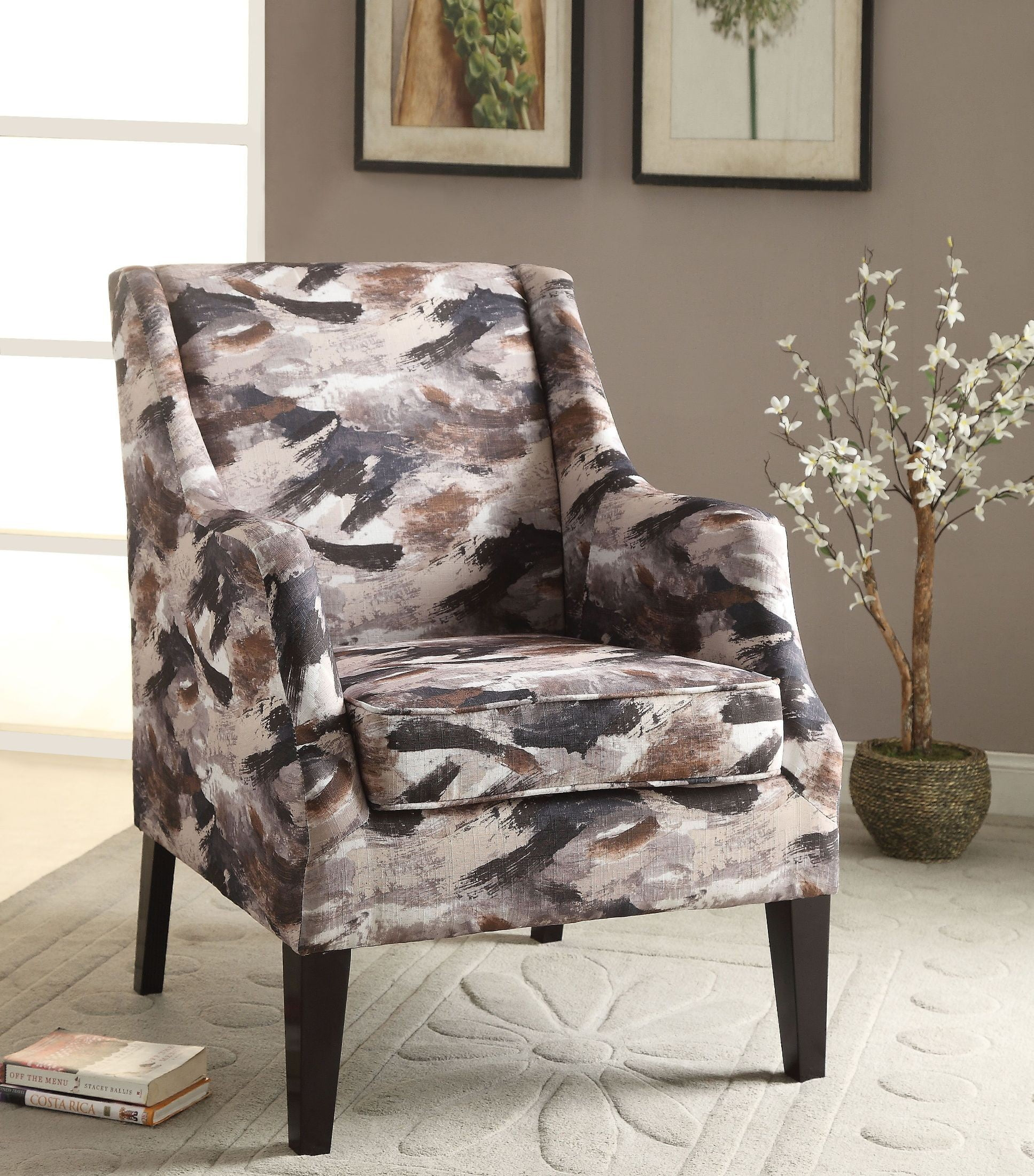 Zarate Gray And Brown Pattern Accent Chair From Acme