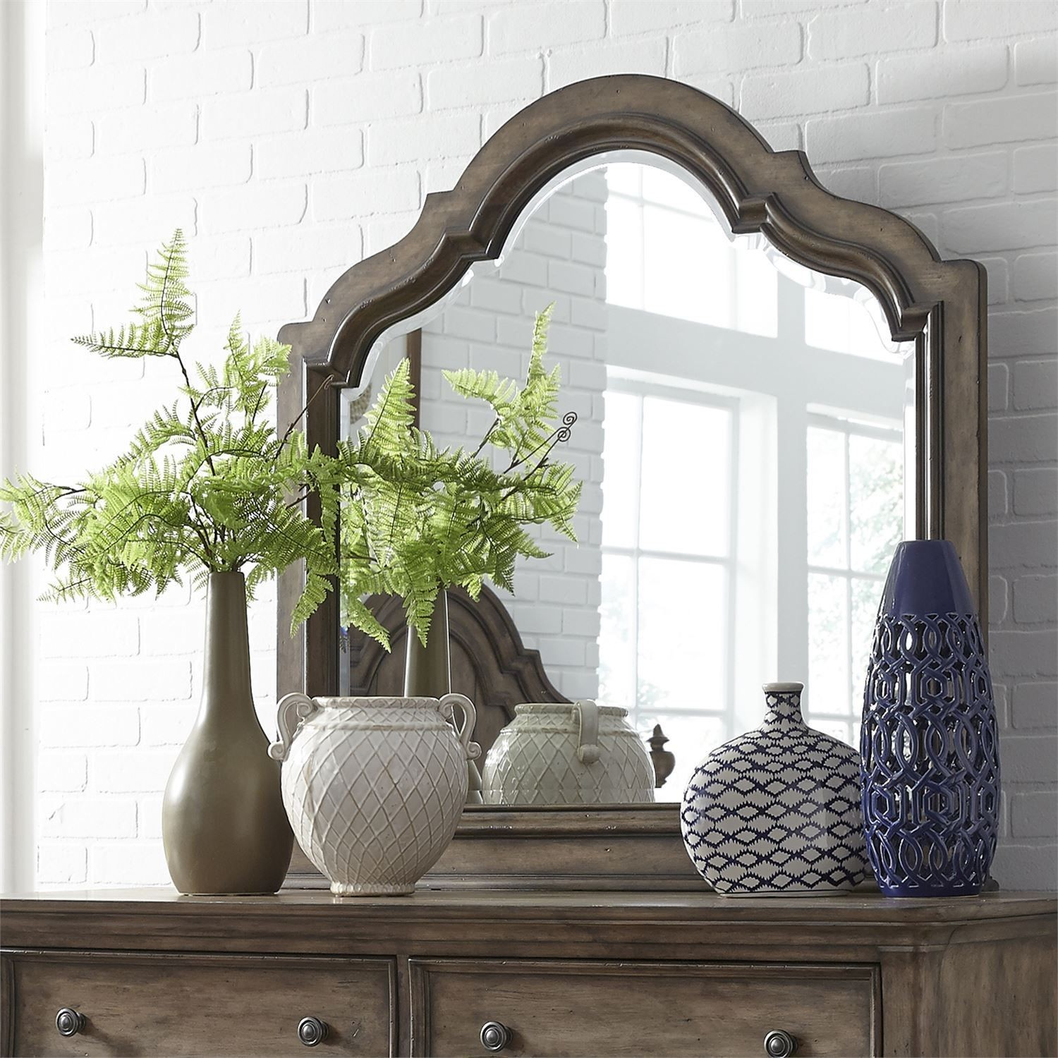 Parisian Marketplace Heathered Brownstone Scalloped Mirror From Liberty | Coleman  Furniture