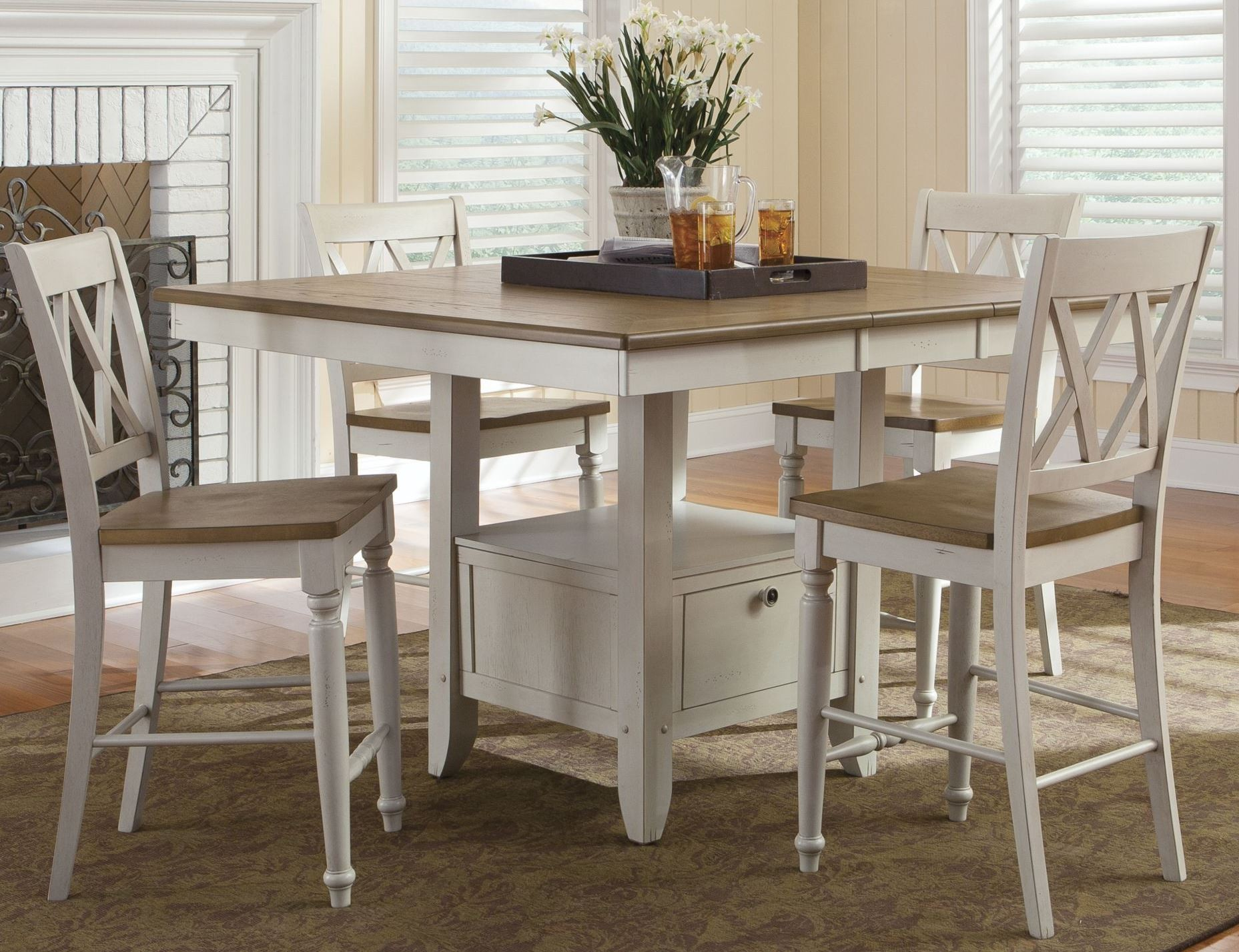Al fresco iii gathering dining room set from liberty 841 for Small white dining room sets