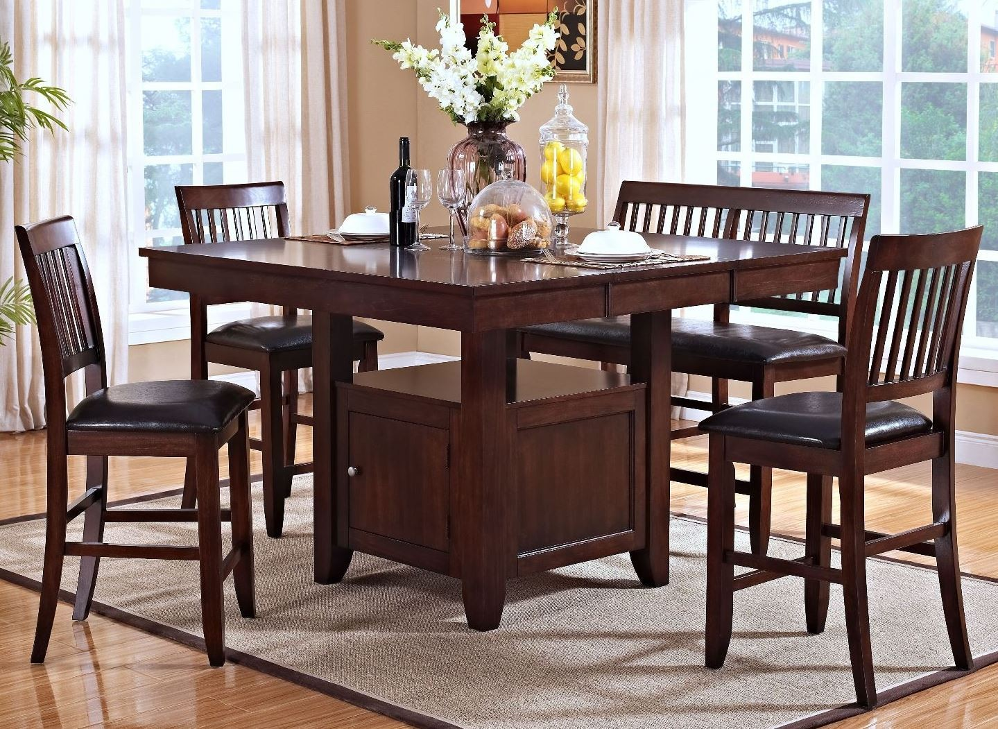 Kaylee tudor counter height storage dining room set from new classics 45 101 10 10b coleman - Dining room sets with storage ...