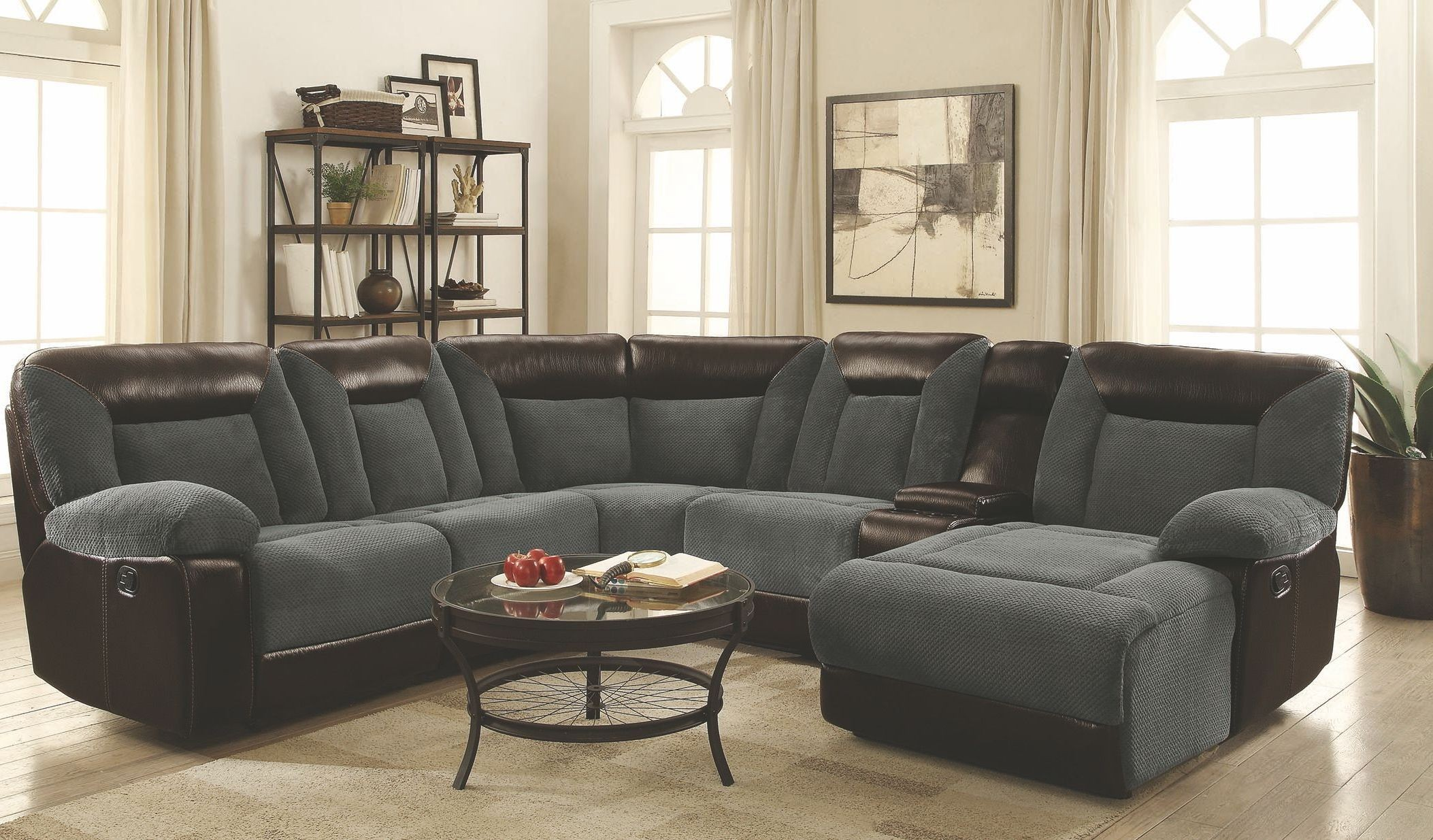 Cybele Motion Grey and Dark Brown Sectional from Coaster