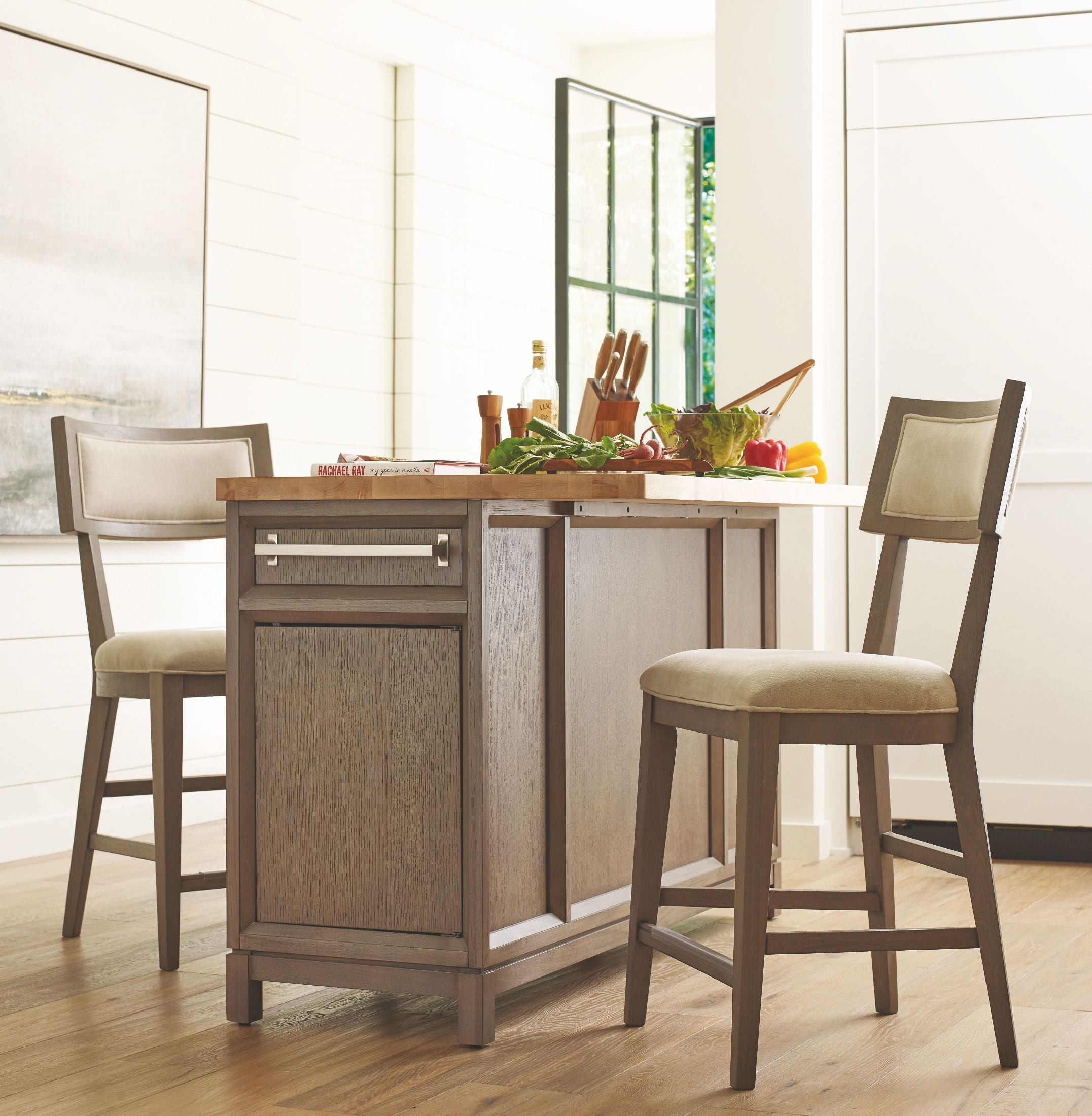High Line Greige Kitchen Island Set From Rachael Ray Home | Coleman  Furniture
