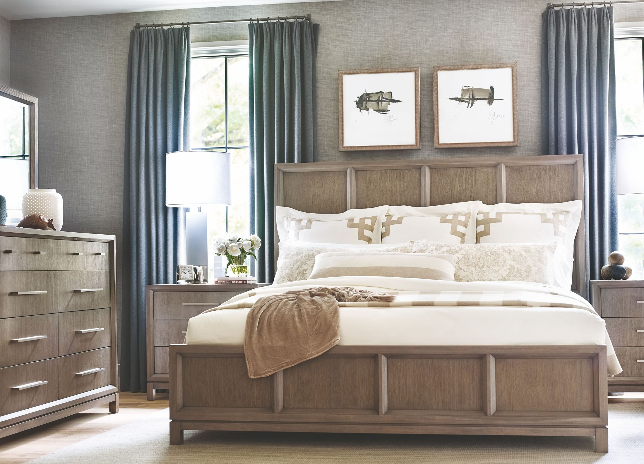 high line greige panel bedroom set from rachael ray home 12075 | 6000 4106k 3100 0200 1200