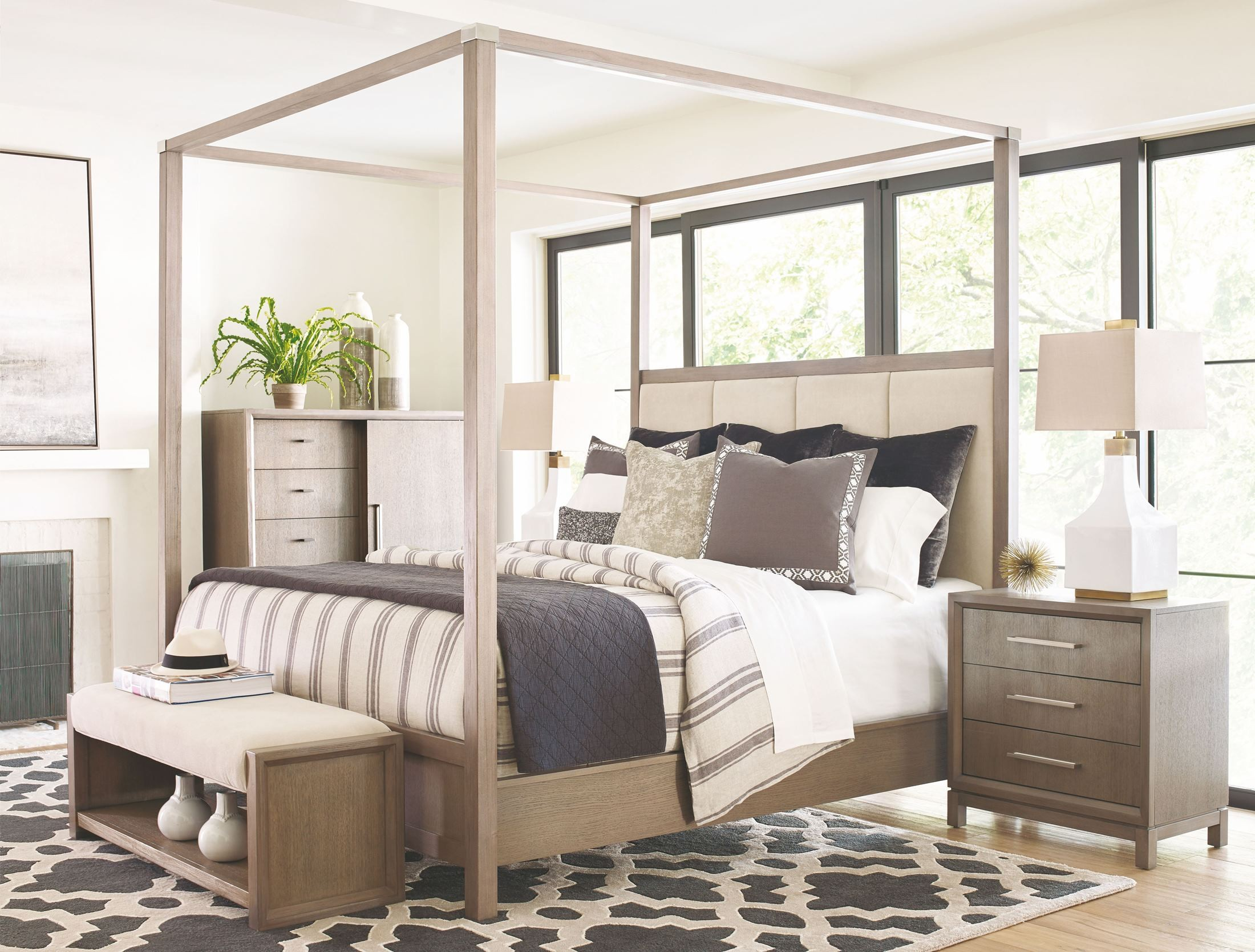 High Line Greige Upholstered Poster Bedroom Set From Rachael Ray Home |  Coleman Furniture