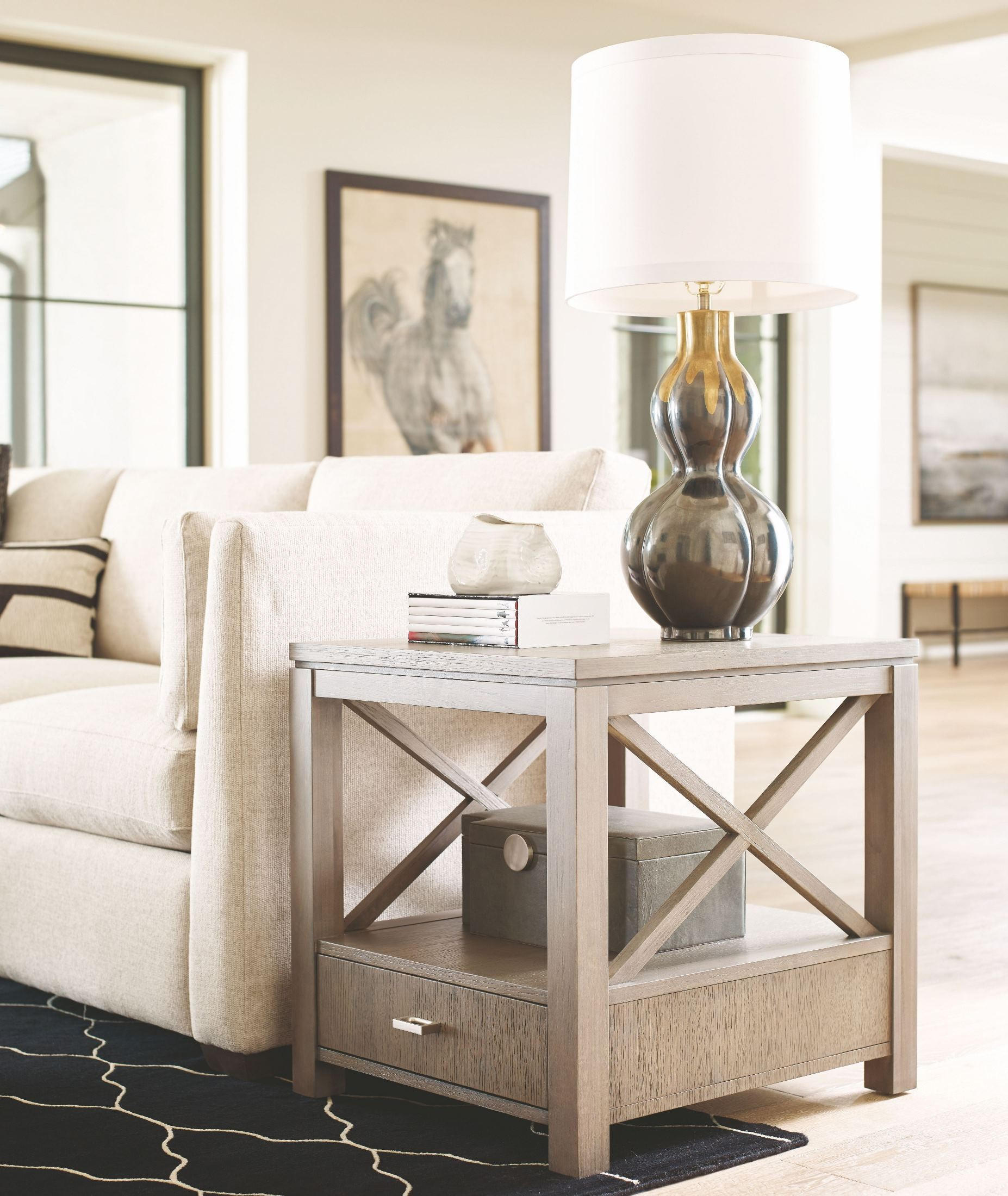 High Line Greige 1 Drawer End Table From Rachael Ray Home