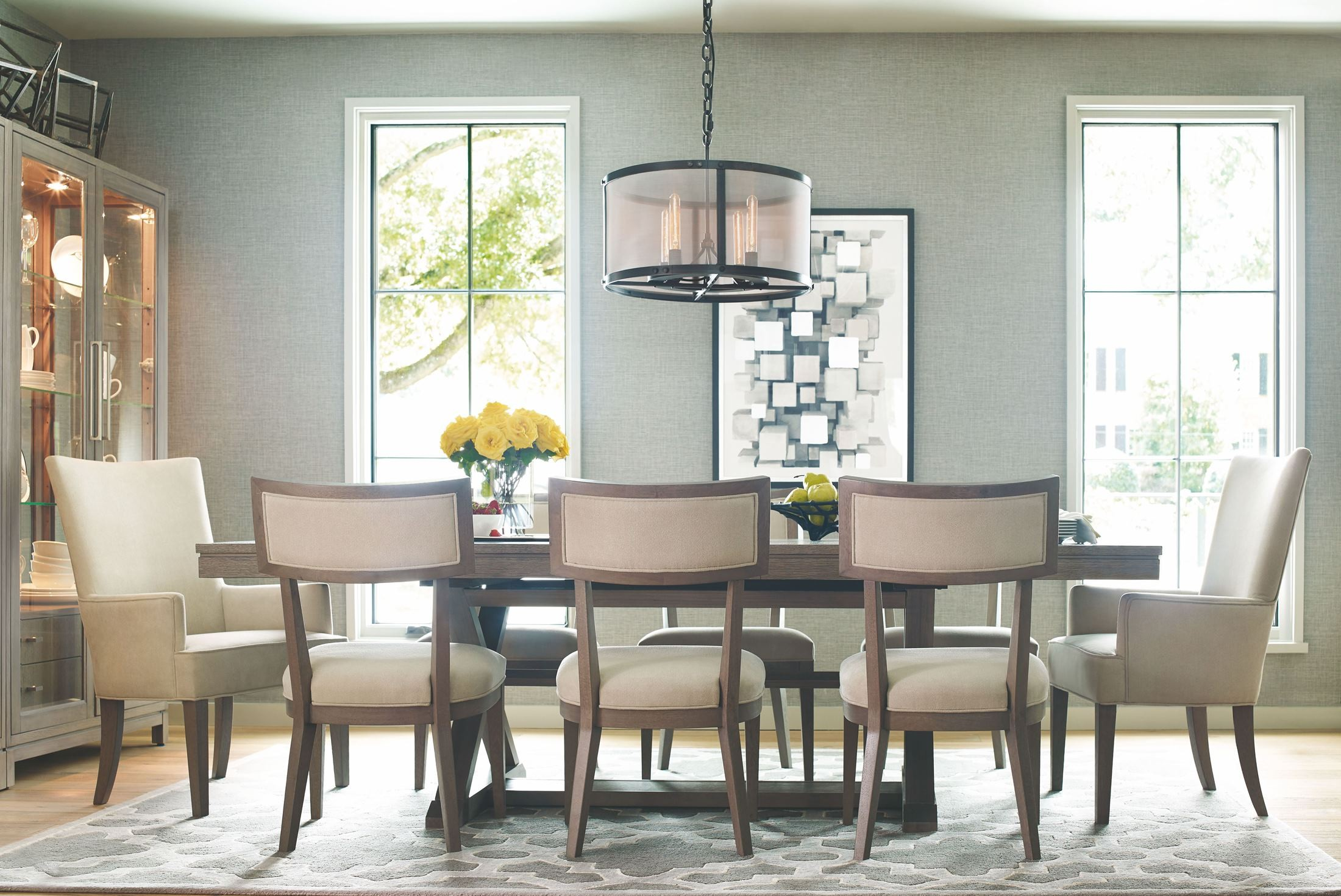 High line greige extendable trestle dining room set from