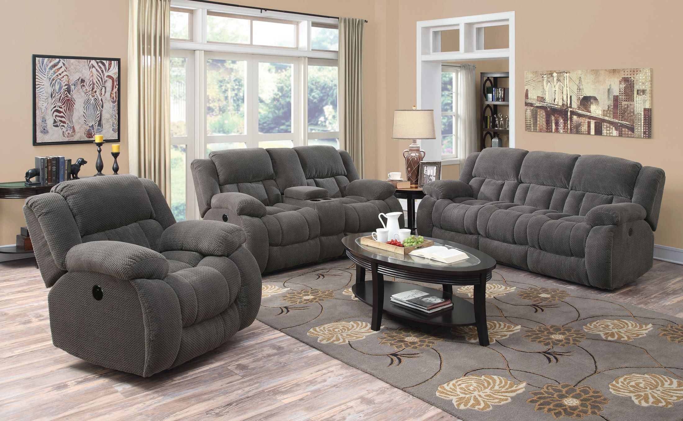 Weissman Charcoal Reclining Living Room Set from Coaster (601921 ...
