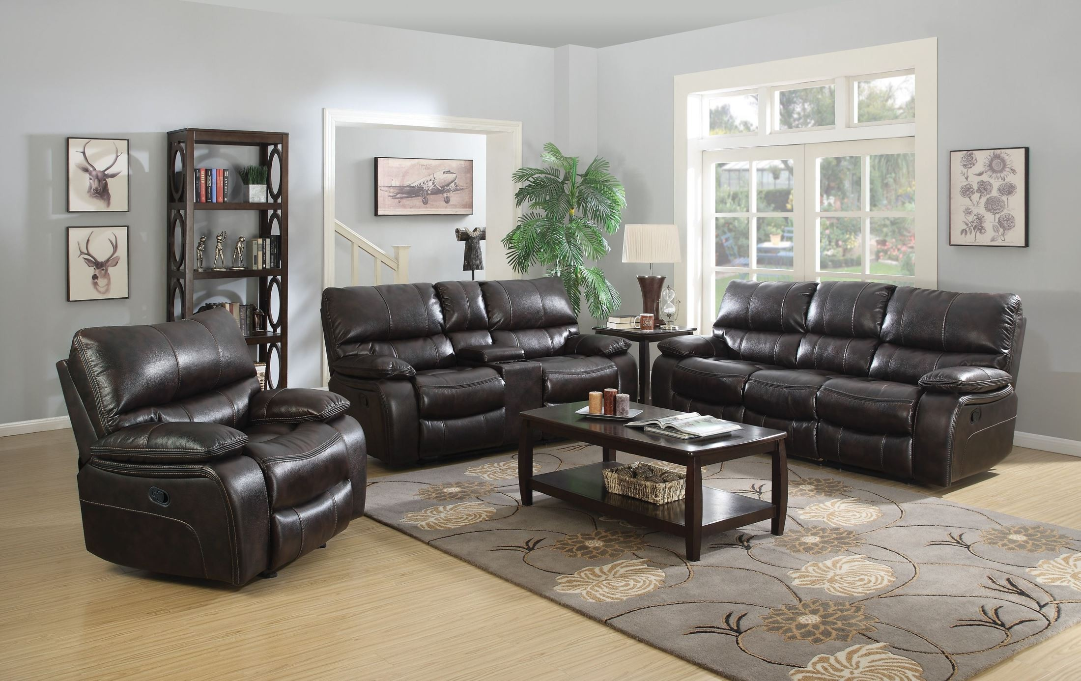 Willemse dark brown reclining living room set from coaster for Dark brown living room set