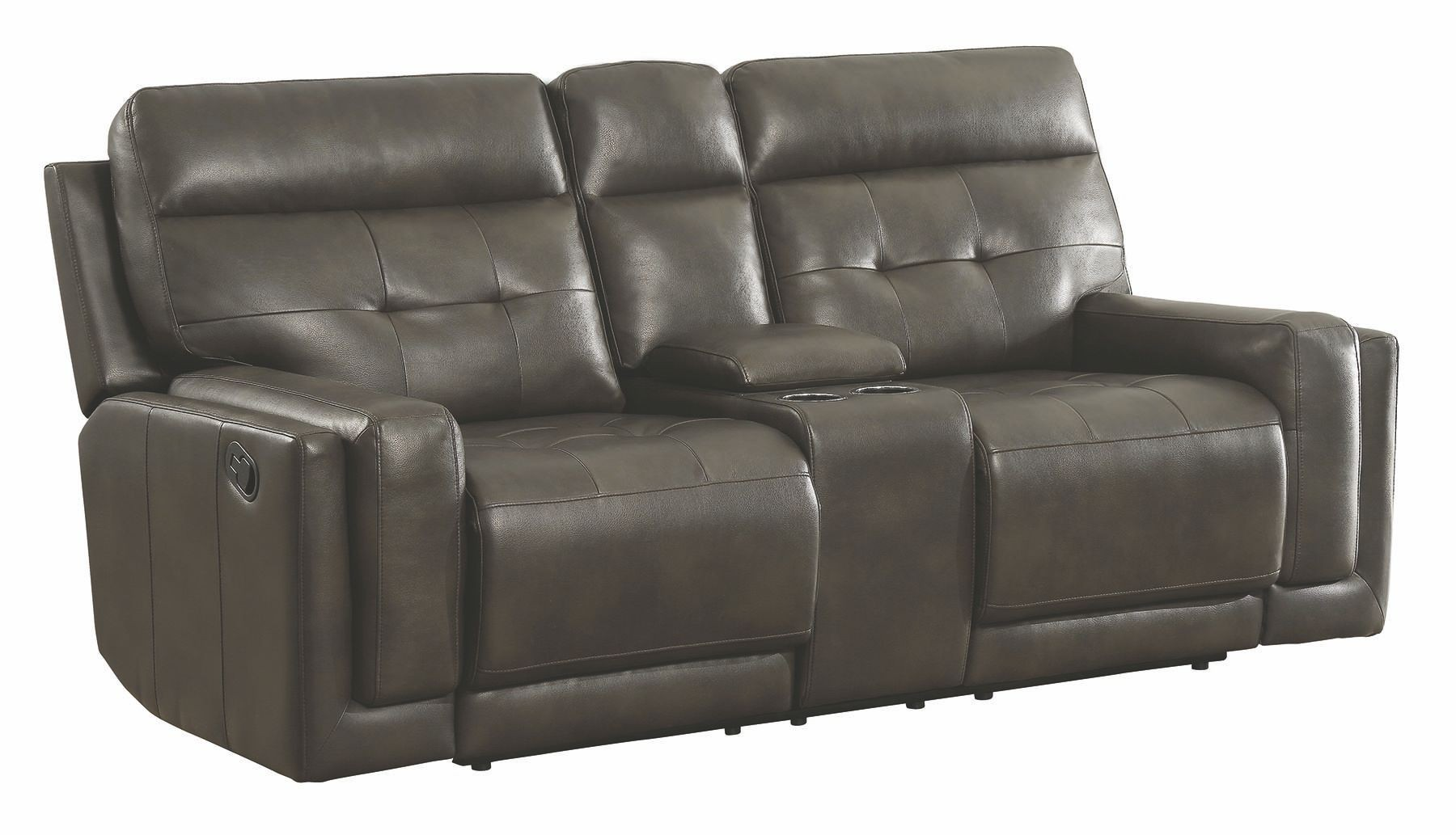 Trenton Motion Dark Grey Reclining Console Loveseat From