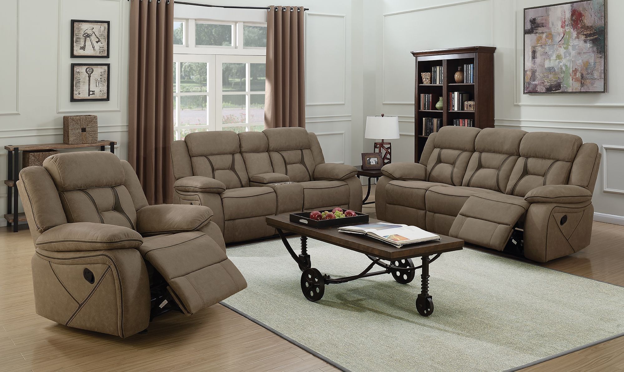 Houston Tan Motion Living Room Set From Coaster Coleman
