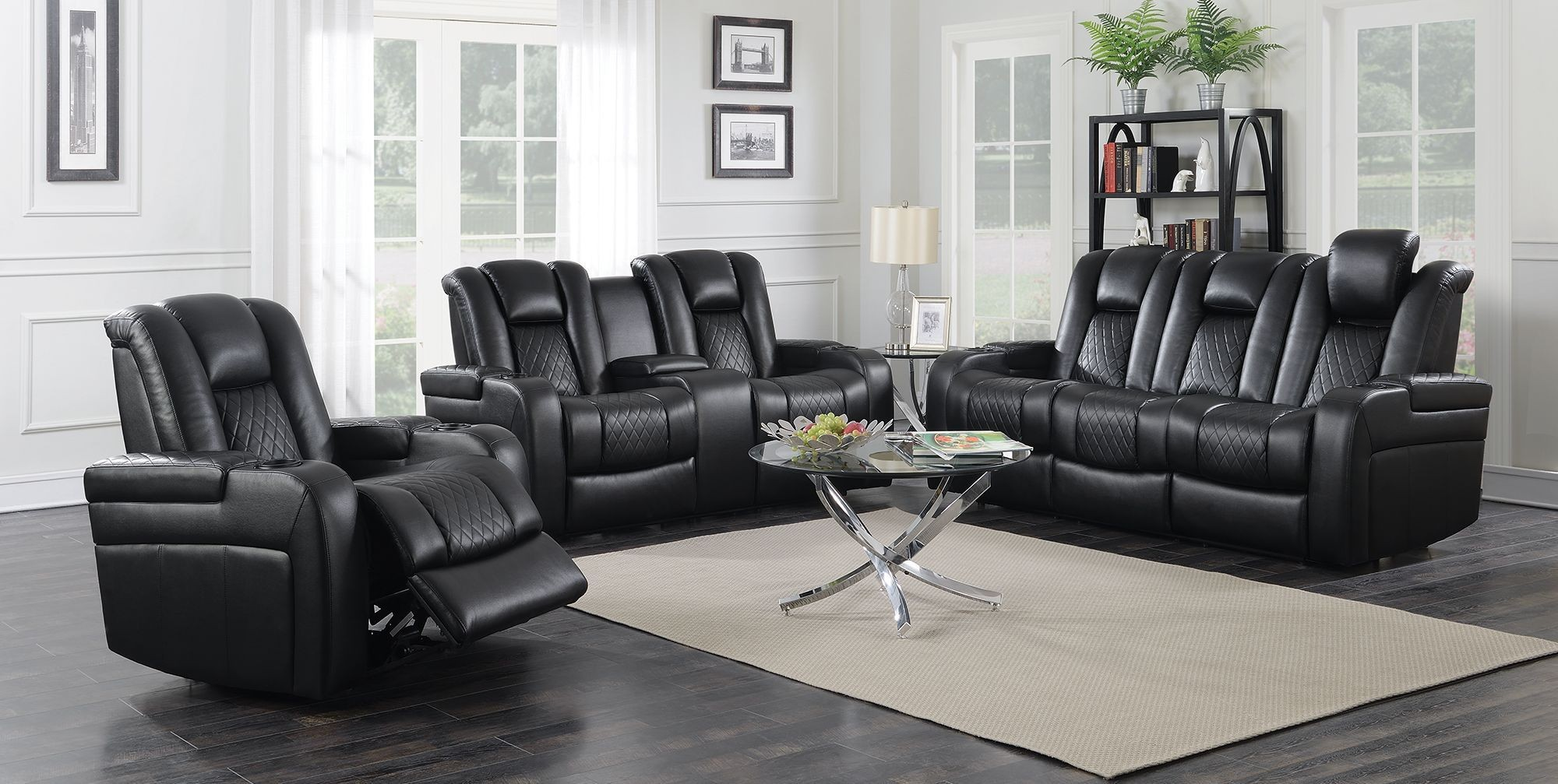 Delangelo motion black power motion living room set from coaster coleman furniture for Motion living room furniture