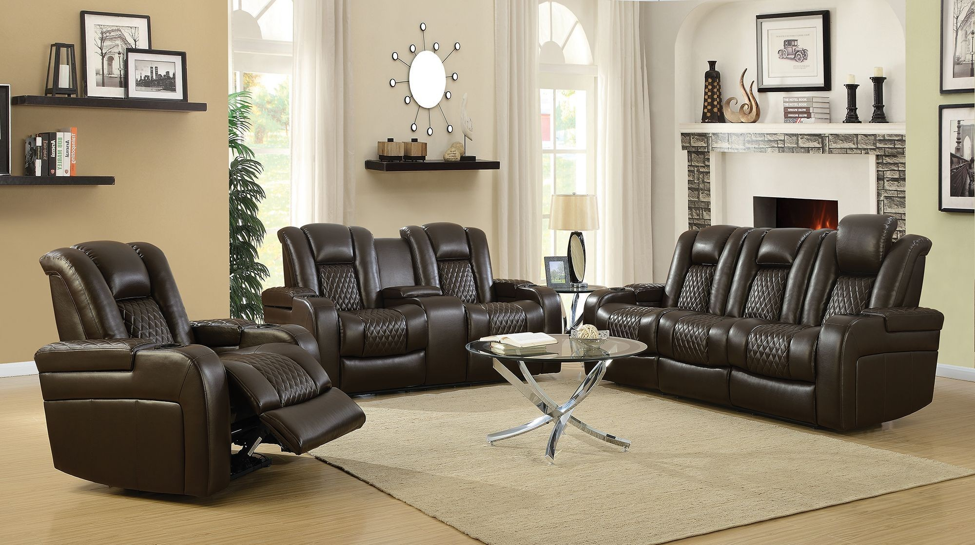 Delangelo motion brown power motion living room set from coaster coleman furniture for Motion living room furniture