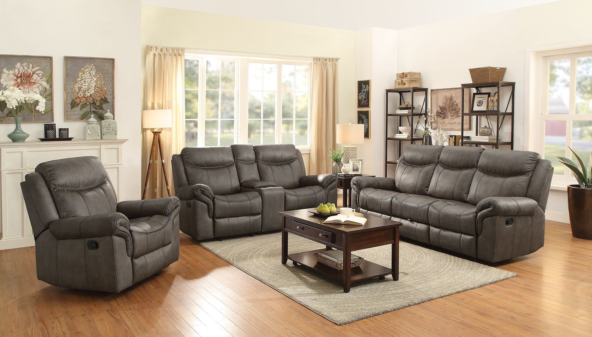 sawyer two tone taupe motion living room set from coaster