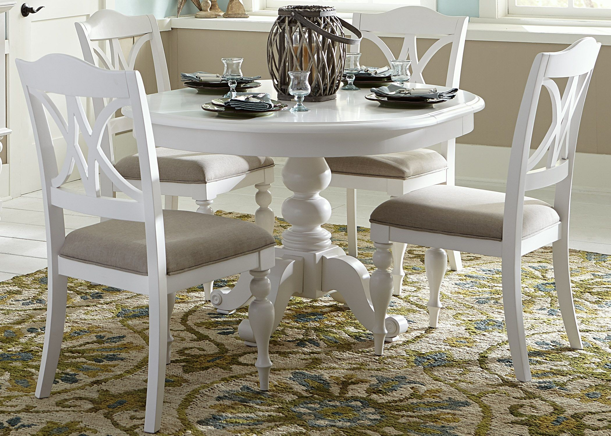 Summer house oyster white antique white round pedestal for White kitchen dining chairs