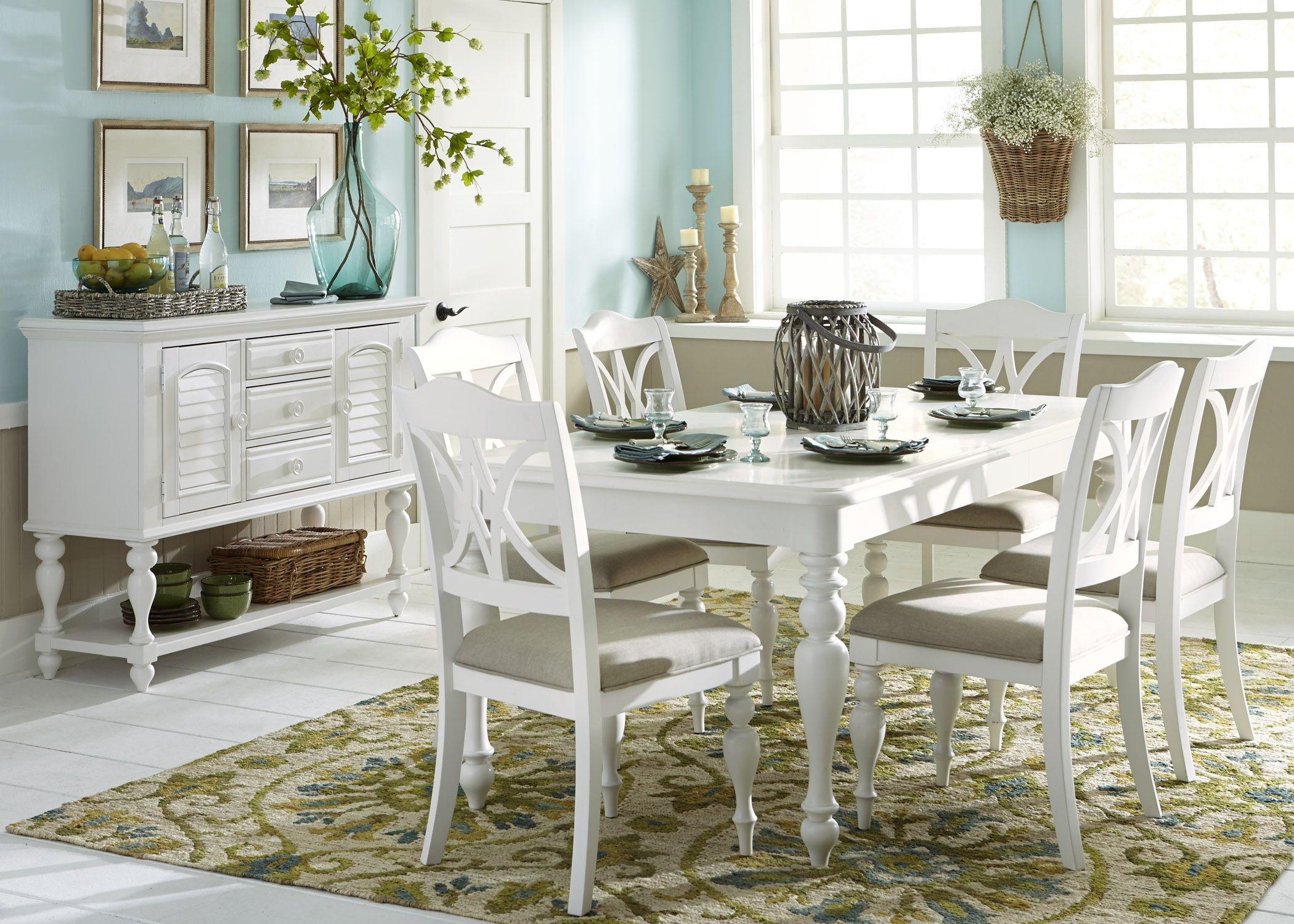 Bon Summer House Oyster White Rectangular Leg Dining Room Set From Liberty  (607 T4078) | Coleman Furniture