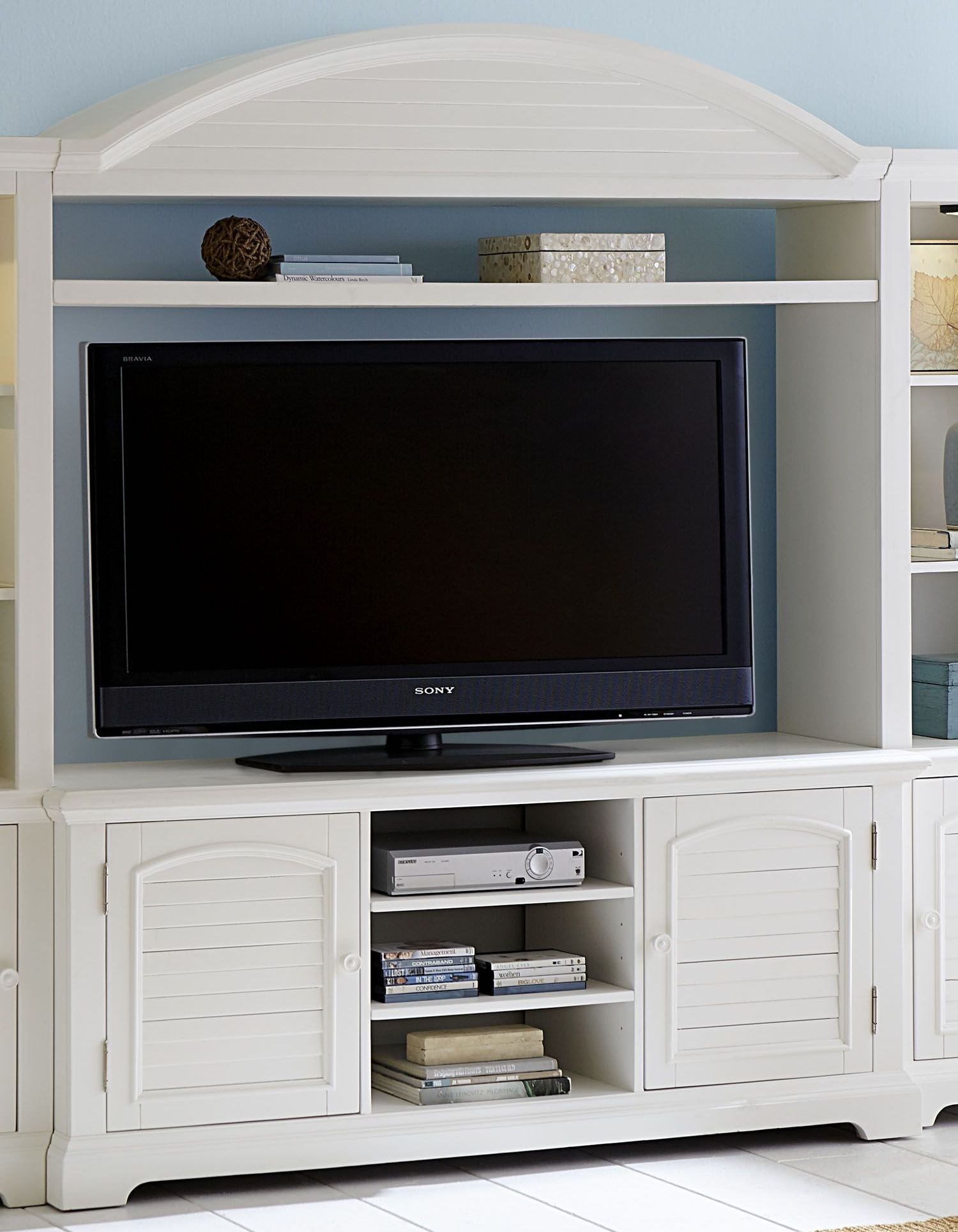 Summer House Oyster White Entertainment Center From