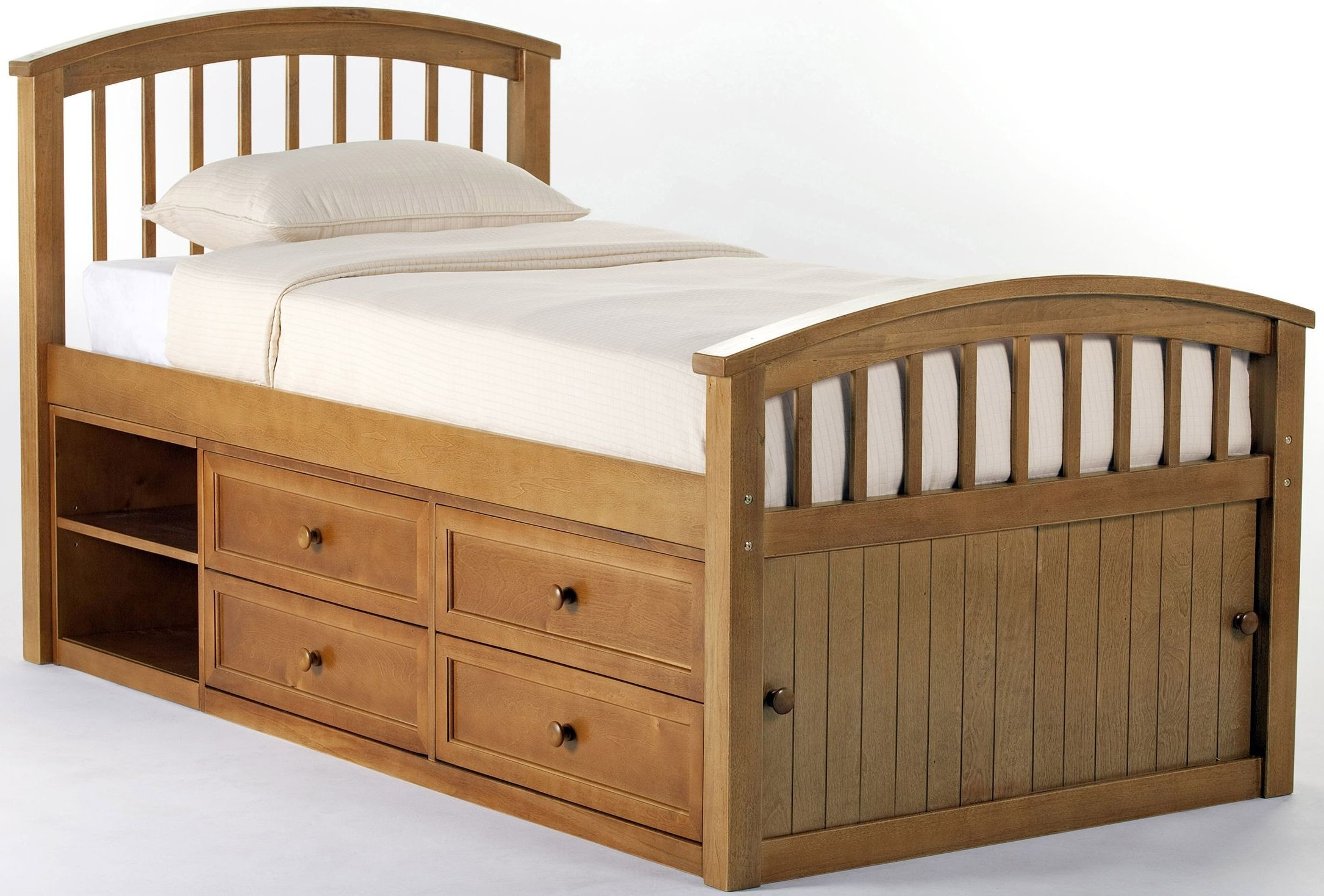 School house pecan captain twin panel bed from ne kids for Pecan house
