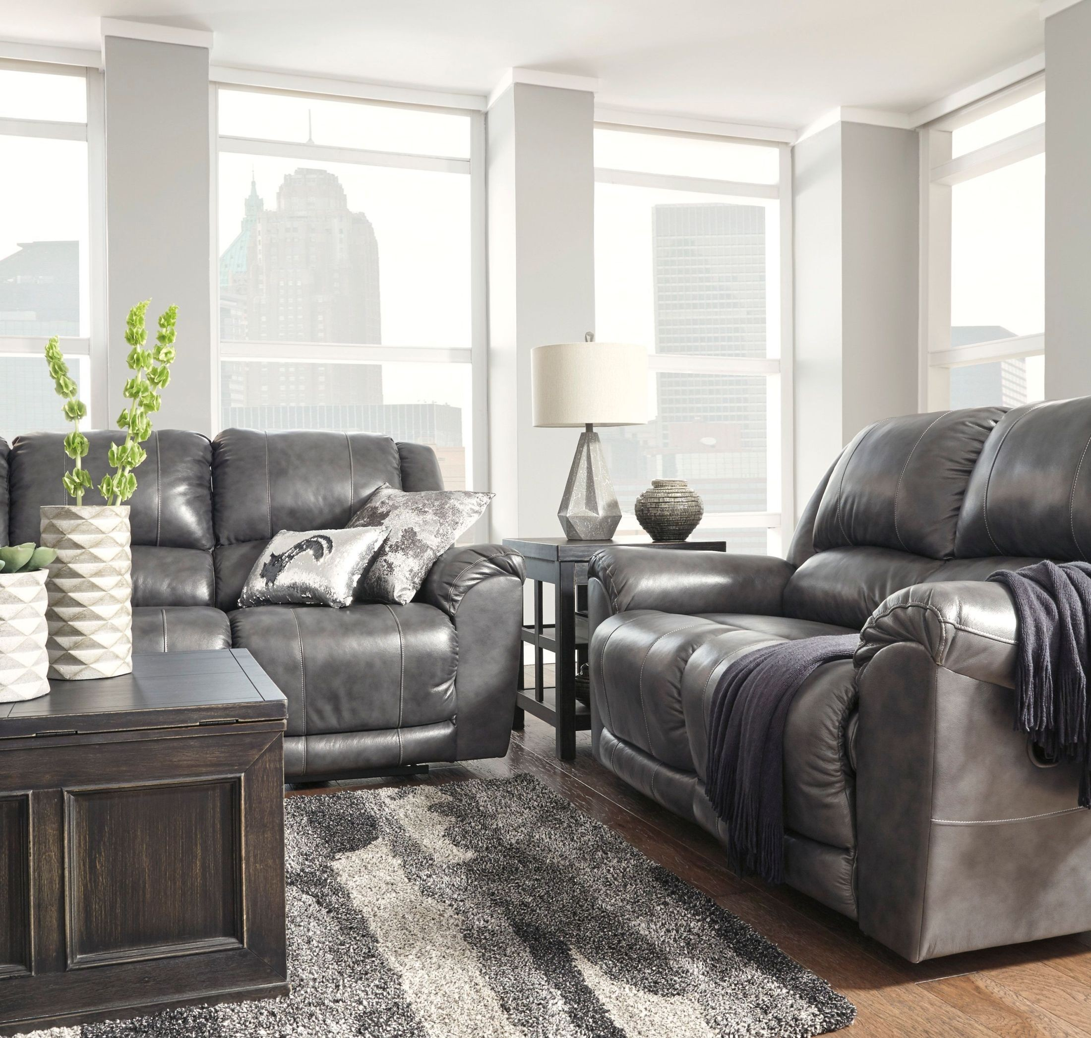 Persiphone Charcoal Reclining Living Room Set from Ashley | Coleman ...