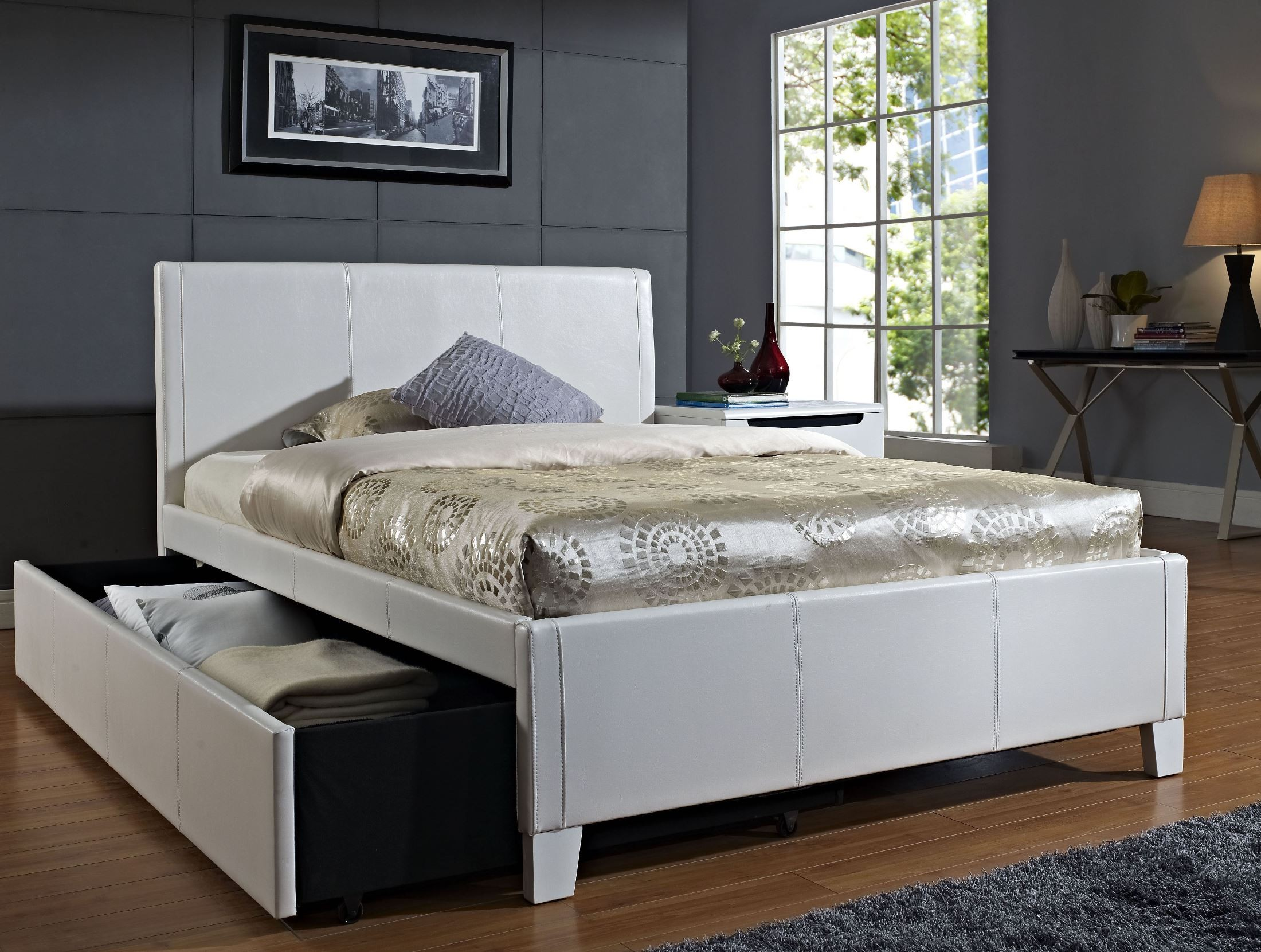 Fantasia White Full Upholstered Trundle Bed From Standard