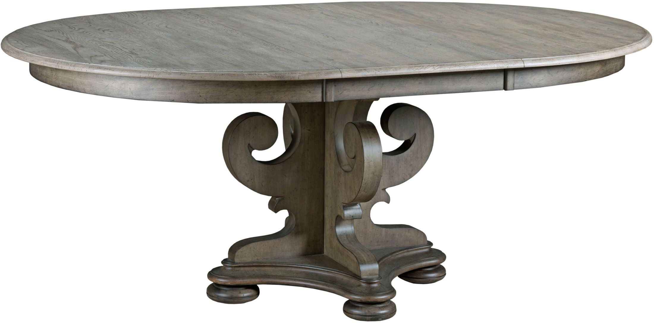Greyson grant round pedestal extendable dining table from for Greyson dining table