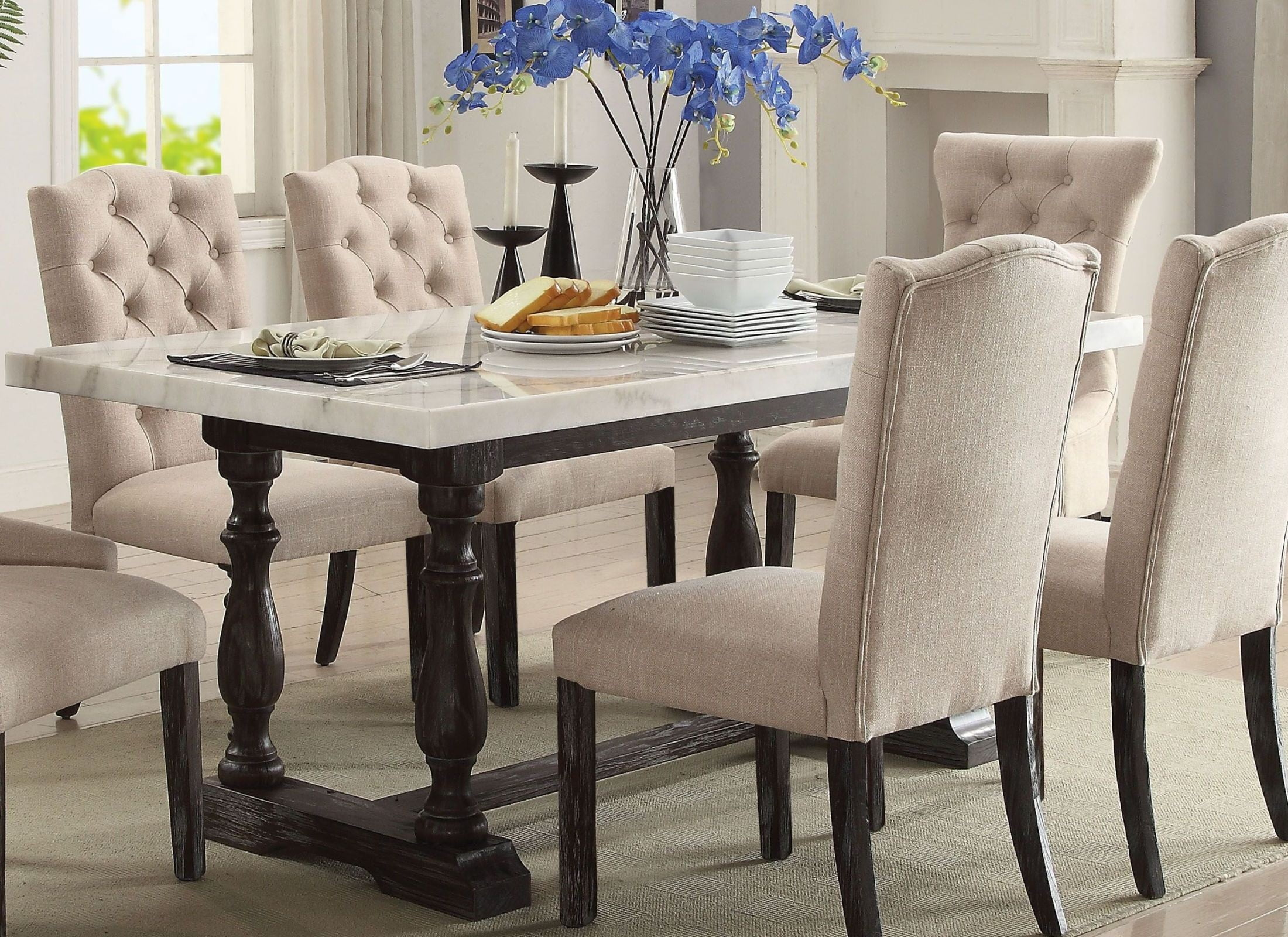Gerardo White Marble and Weathered Espresso Dining Table ...