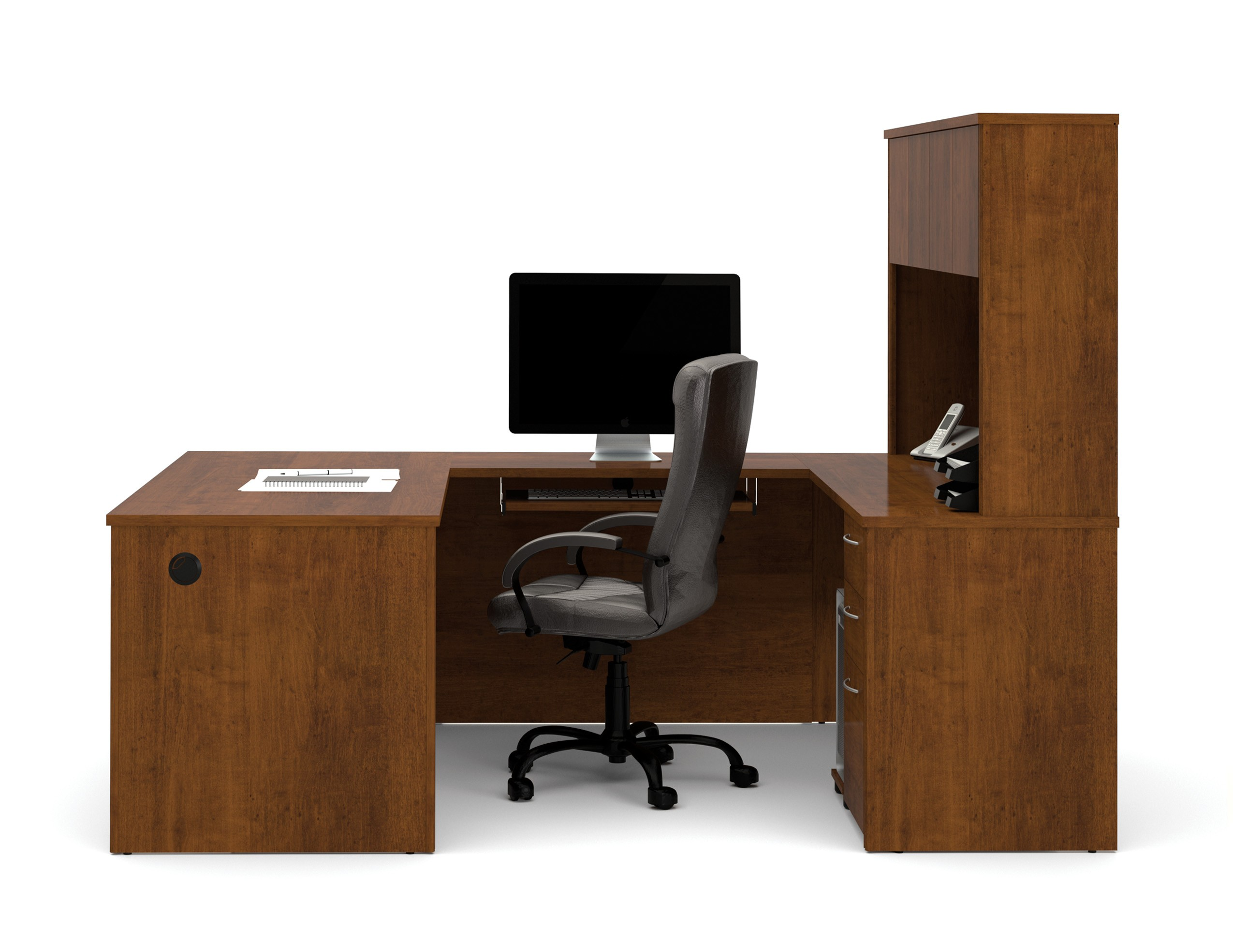 Embassy u shaped tuscany brown workstation kit from bestar for Consul service catalog
